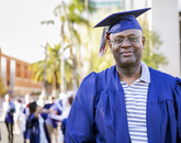 Former UA basketball player Larry Demic, a graduate in general studies, has been in the corporate world for 30 years and currently works for Konica Minolta in Los Angeles. He completed his degree online. (Photo: John de Dios/UANews)