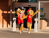 Wilbur and Wilma Wildcat greet guests at a Banner – UMC Tucson tower reception on April 11. (Photo: Joe Ramirez/Area 520)