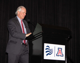 UA President Robert C. Robbins speaks at the new tower's grand opening reception on April 11. (Photo: Joe Ramirez/Area 520)