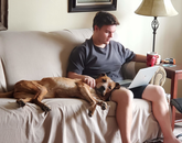While I'm working in one room, my son Zach is taking his college courses in another room. Sara (the dog) is enjoying college! – Julie A. Bell, administrative associate, Housing and Residential Life