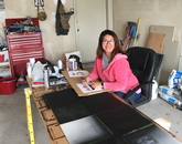 Fortunately, I was able to bring some work home with me. In this picture I'm working on making ground control points for my drone flights. My husband was helpful and helped set me up in the garage, which was a good idea since it rained! Not only did I get to be productive but I was also able to watch and enjoy the beautiful weather. – Rosa Bevington, media specialist at the Yuma Center of Excellence for Desert Agriculture