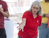Barbara McKean, an associate professor with the UA School of Theatre, Film & Television, leads acting workshops during the Saturday With Shakespeare community event.