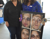 """Hailey Koellisch, right, family of Valerie Koellisch, left, an accountant in the Department of Family and Community Medicine. Hailey Koellisch's photo collage, """"Bruises Heal, Words Scar the Soul,"""" won a People's Choice Award. (Photo courtesy of Pamela Wagner)"""