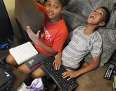 Working from home setup, helpers, and pet: Xaynen, 10 years old, Keyan, 7 years old and Twenty, 10 weeks old. – Jennise Taylor, executive assistant, Office of University Communications