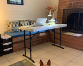 "My new ""office"" in the corner of the family room, with my office assistant, Lily! – Rick Tuckett, associate professor, School of Theatre, Film and Television"