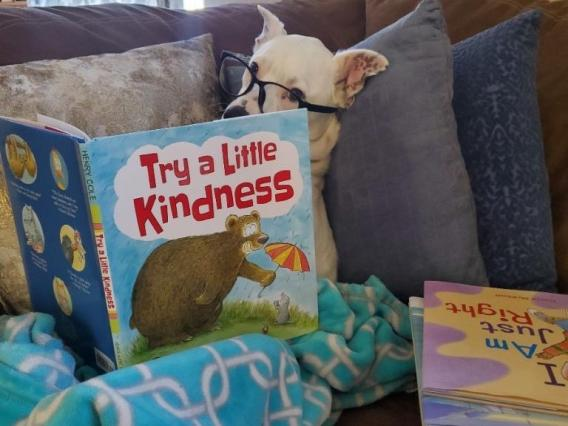 "Had to share these from our senior office specialist, Alyssa Lara. Our center is closed, but that doesn't stop us from reading all the children's literature we can get our ""paws"" on. This is Brady, Alyssa's new workspace partner. He's evaluating picture b"