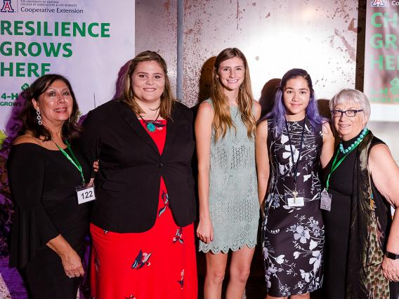 From left: 4-H Foundation Board Member Juanita Waits, scholarship recipients Elizabeth McGibbon, Autumn Gilbert and Robin Lee, and 4-H Foundation President Julie Adamcin.