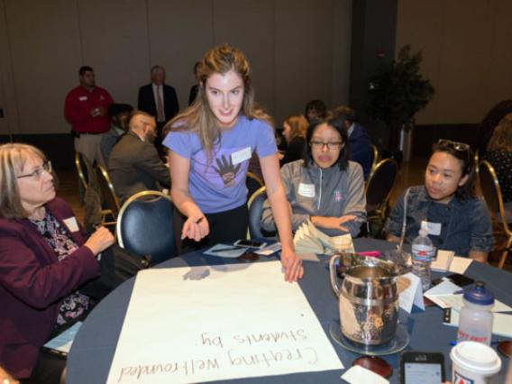 Participants met in small groups at a Jan. 29 event to consider the question: What impact will the UA have on students, society and the community in 10 years?