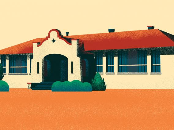 A graphic illustration of the Dunbar School in the 1950s.