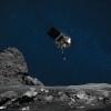 artist's rendering shows the descending OSIRIS-REx spacecraft