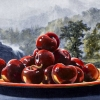 artwork of cherries on a plate in front of a forest