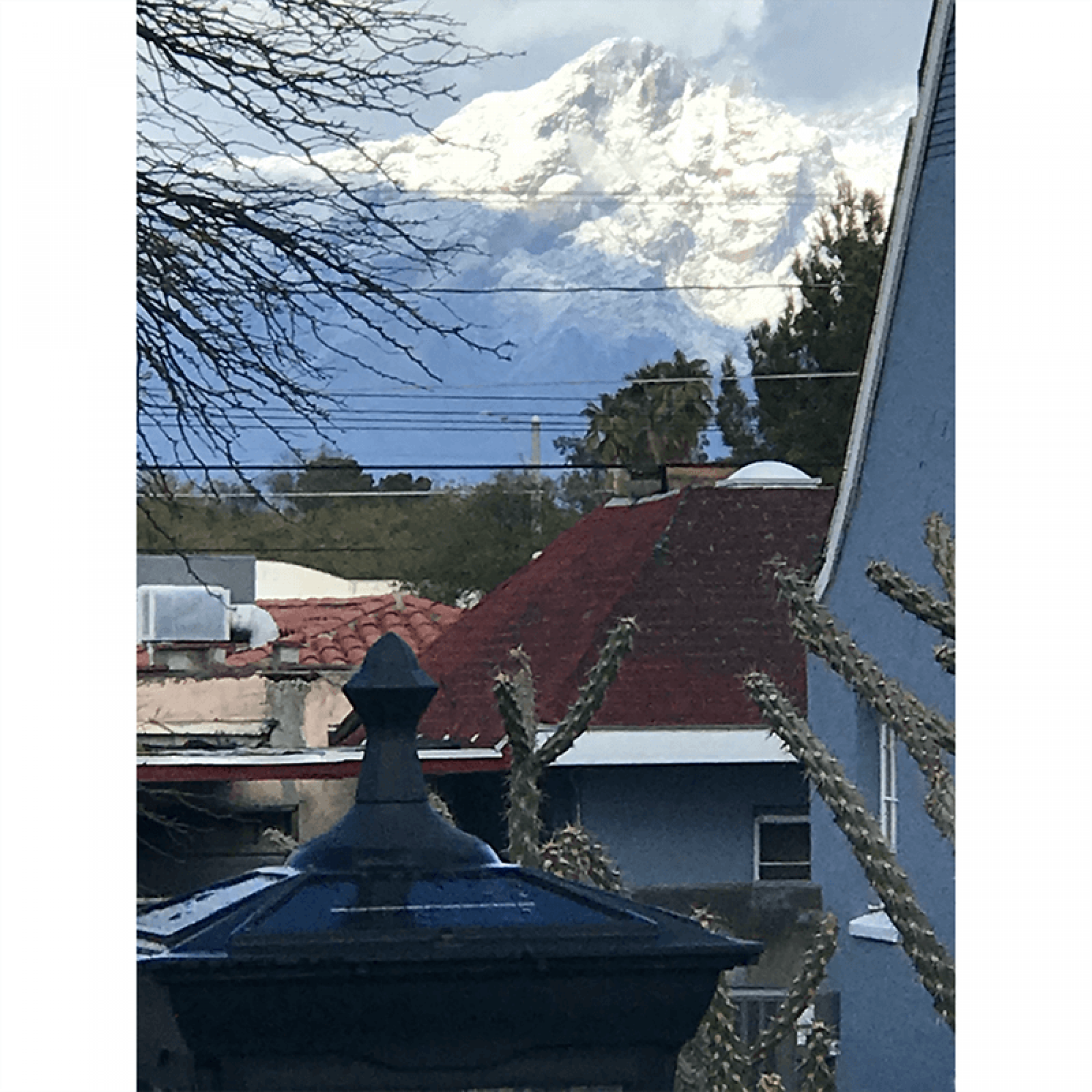 snowy mountains behind rooftops