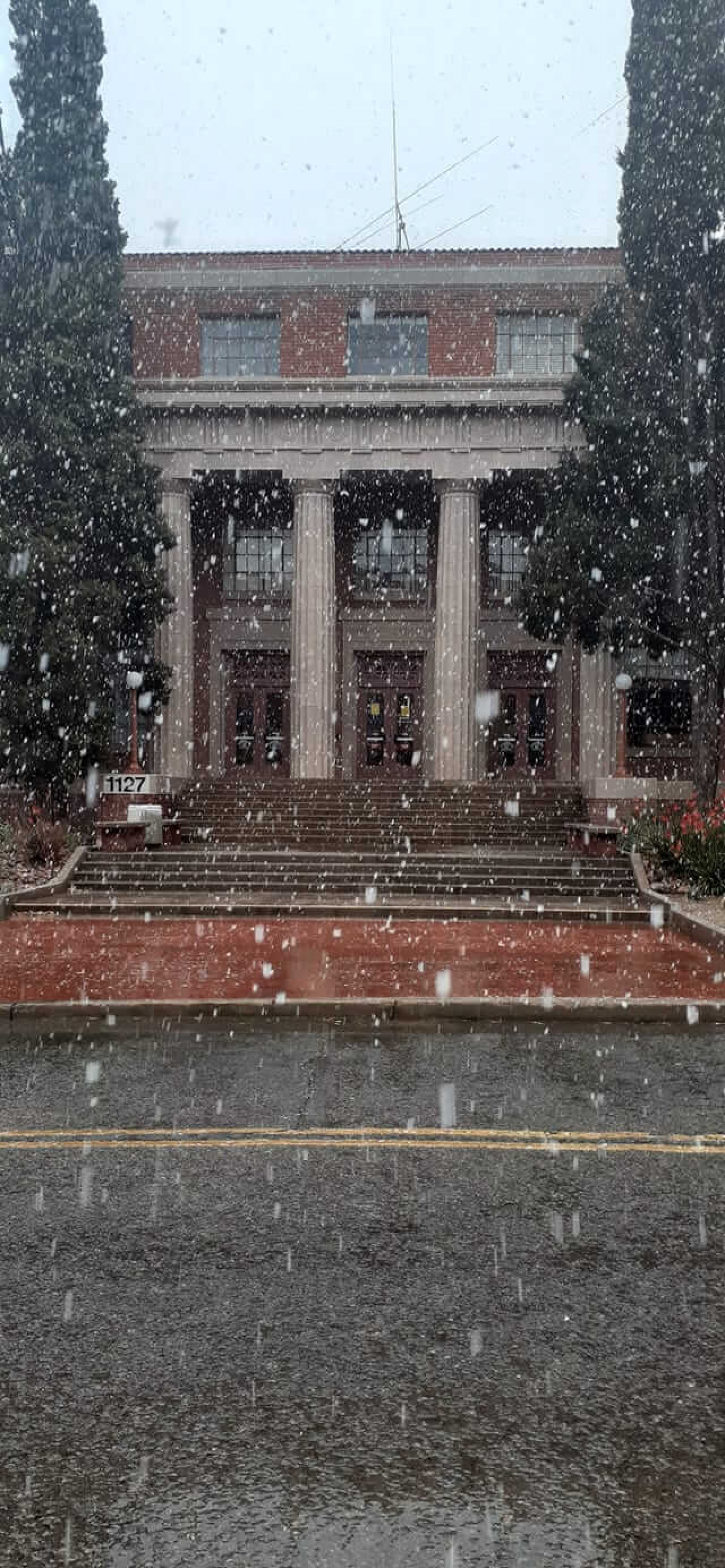 snow falling outside of a building