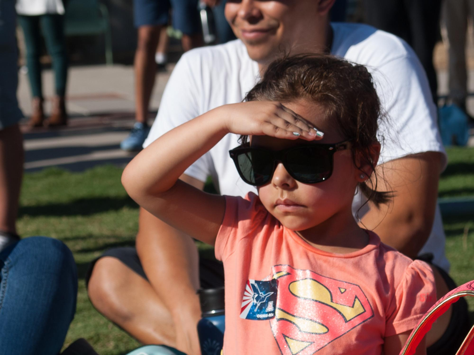 Kaleila Rodriguez, 5, watching her first rocket launch.
