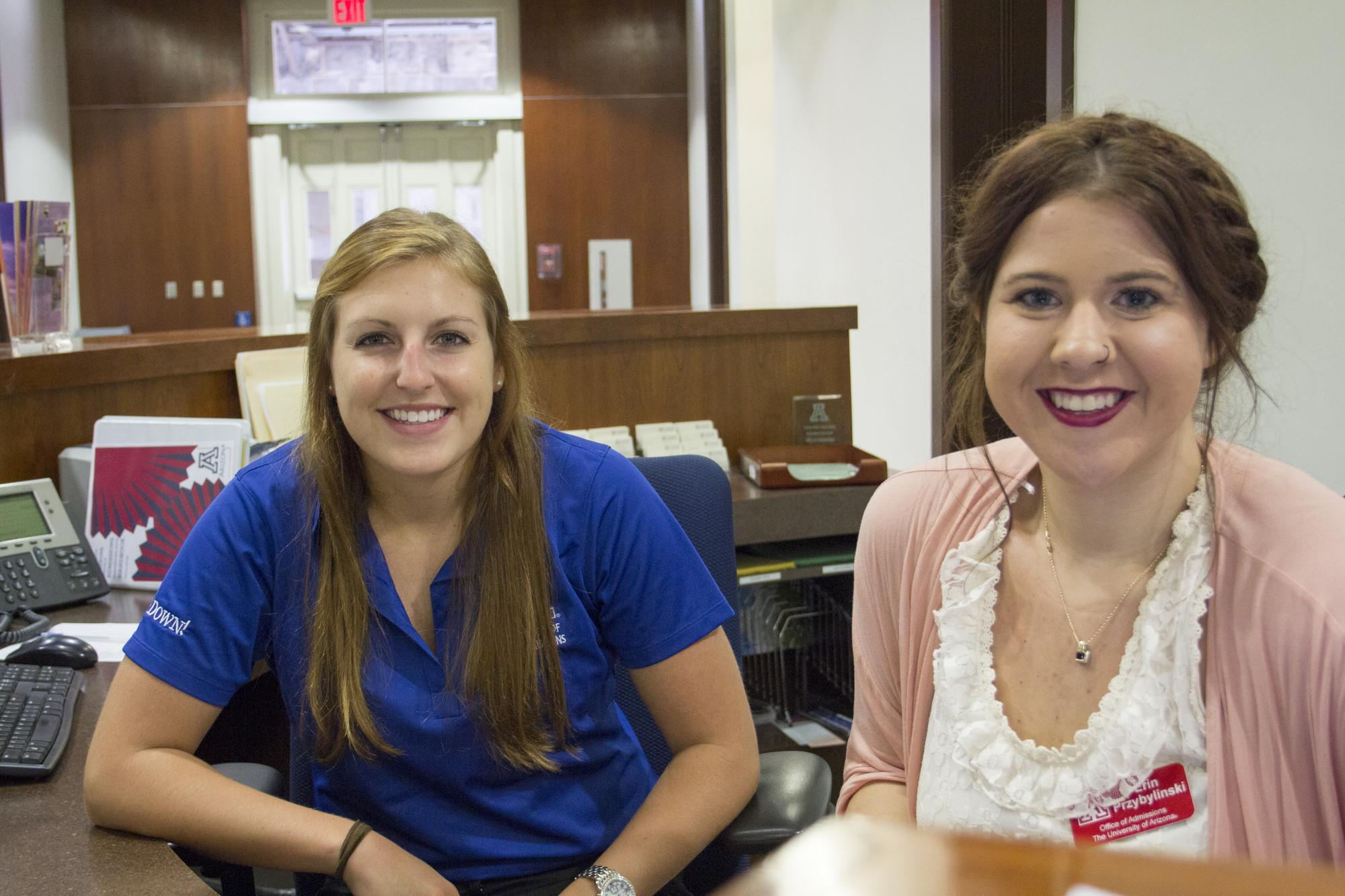 """Sept. 9, 11:56 a.m.: Riley Sullivan , a senior studying mathematics, says she previously worked at Bear Down Gym and now prefers Old Main. """"It's a beautiful place,"""" says Sullivan, who works in the Office of Admissions. Erin Przybylinski, a student in the"""