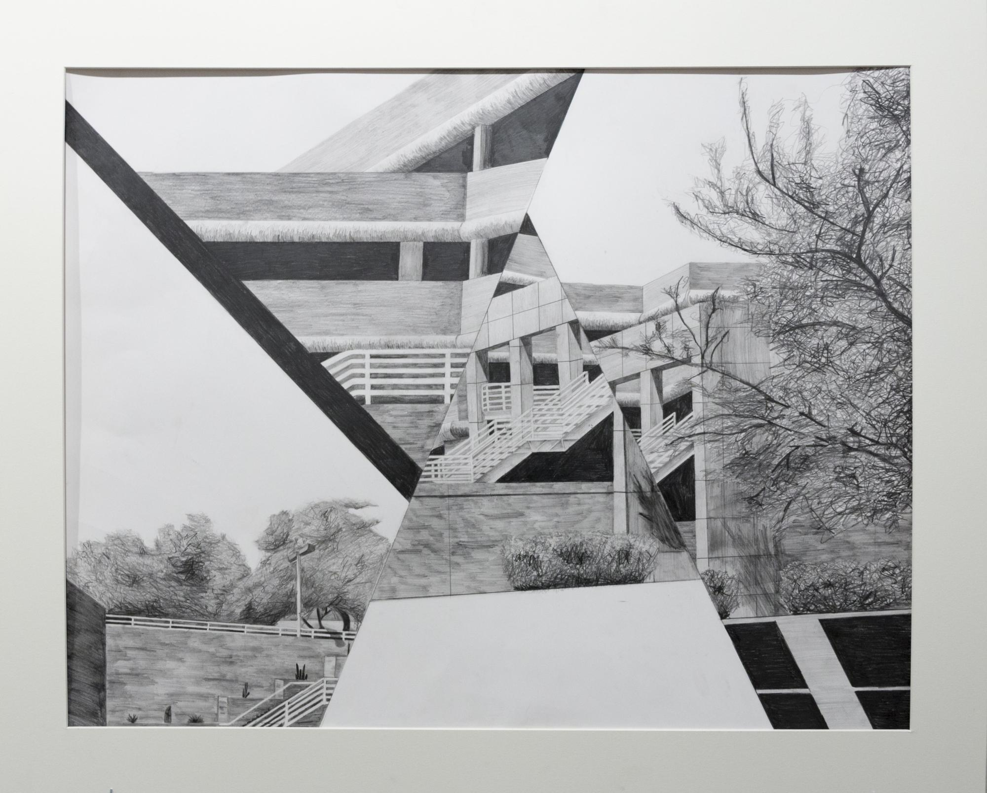 """""""Levels,"""" presented as graphite on paper by Laura Perry."""