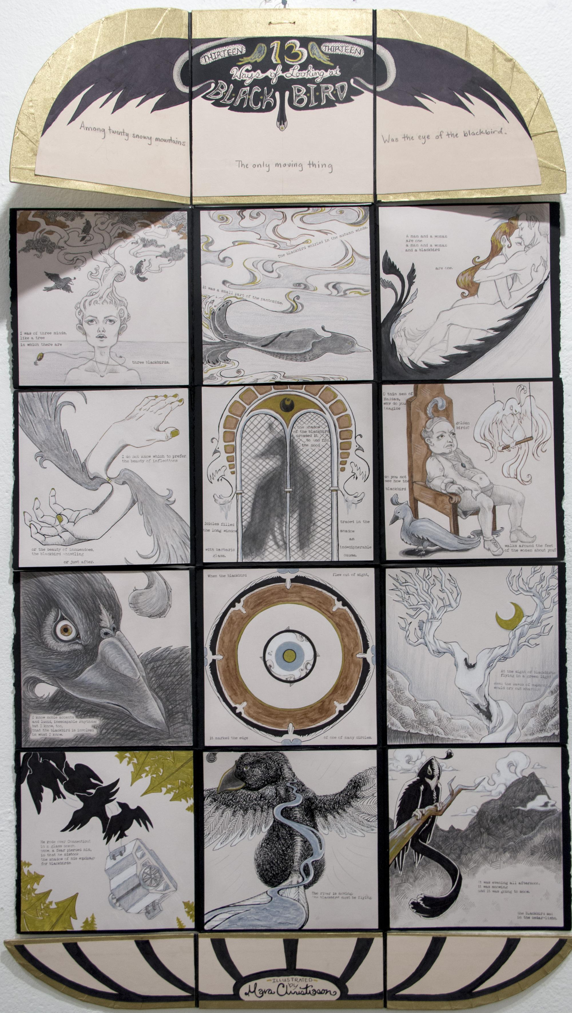 """""""13 Ways of Looking at Blackbird,"""" produced with ink, graphite and colored pencil by Mara Christiason, a studio art graduate."""