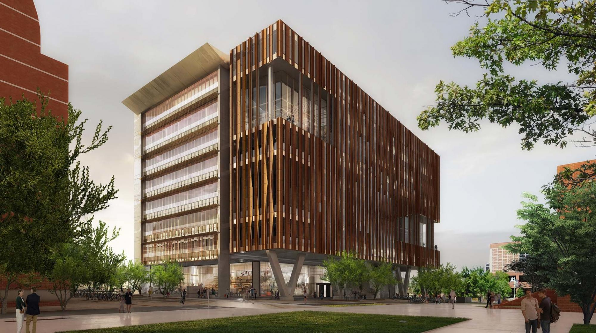 An artistic rendering of the exterior of the Health Sciences Innovation Building.