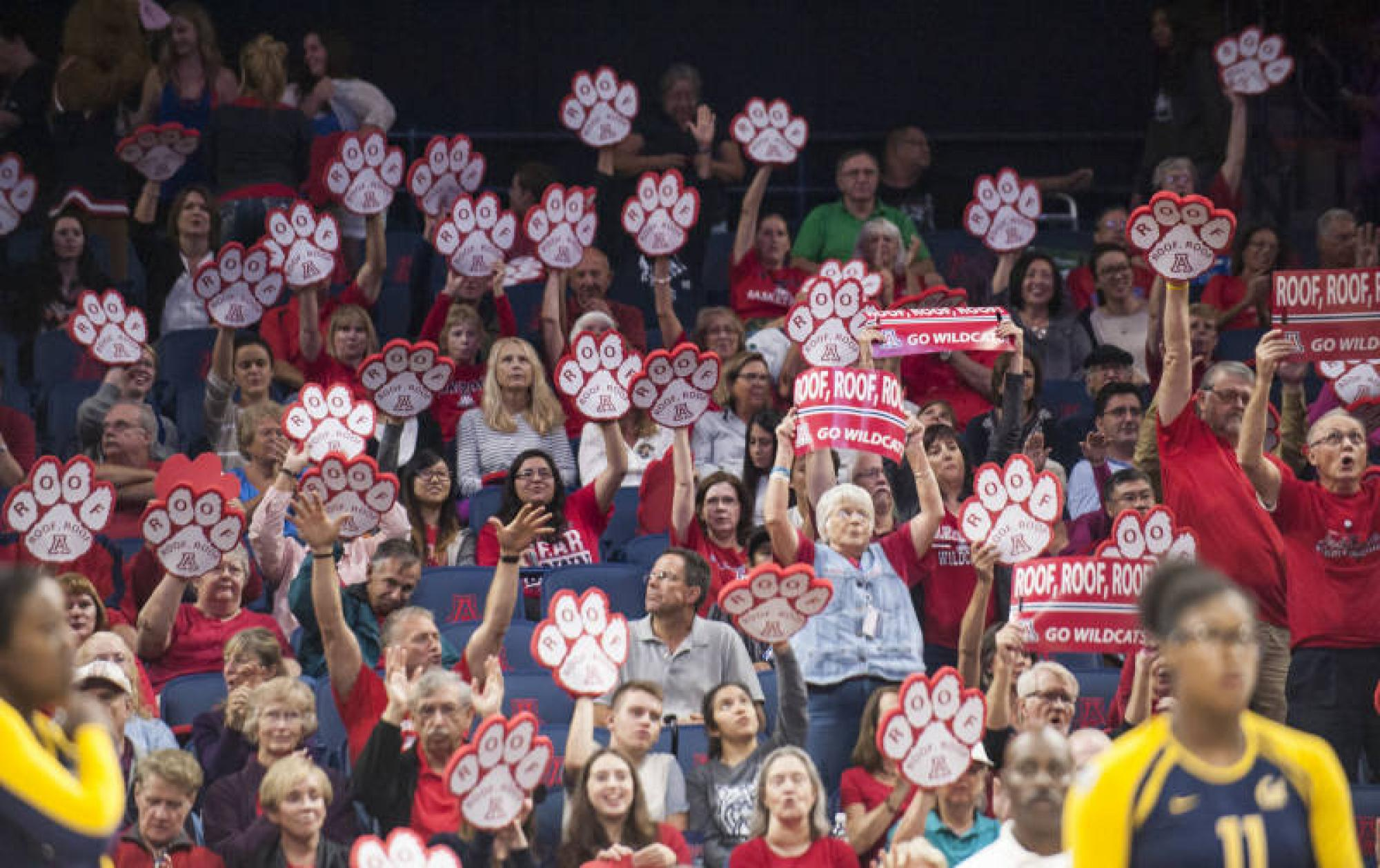 "Arizona fans chant ""roof, roof, roof"" in support of the volleyball team's match against California."