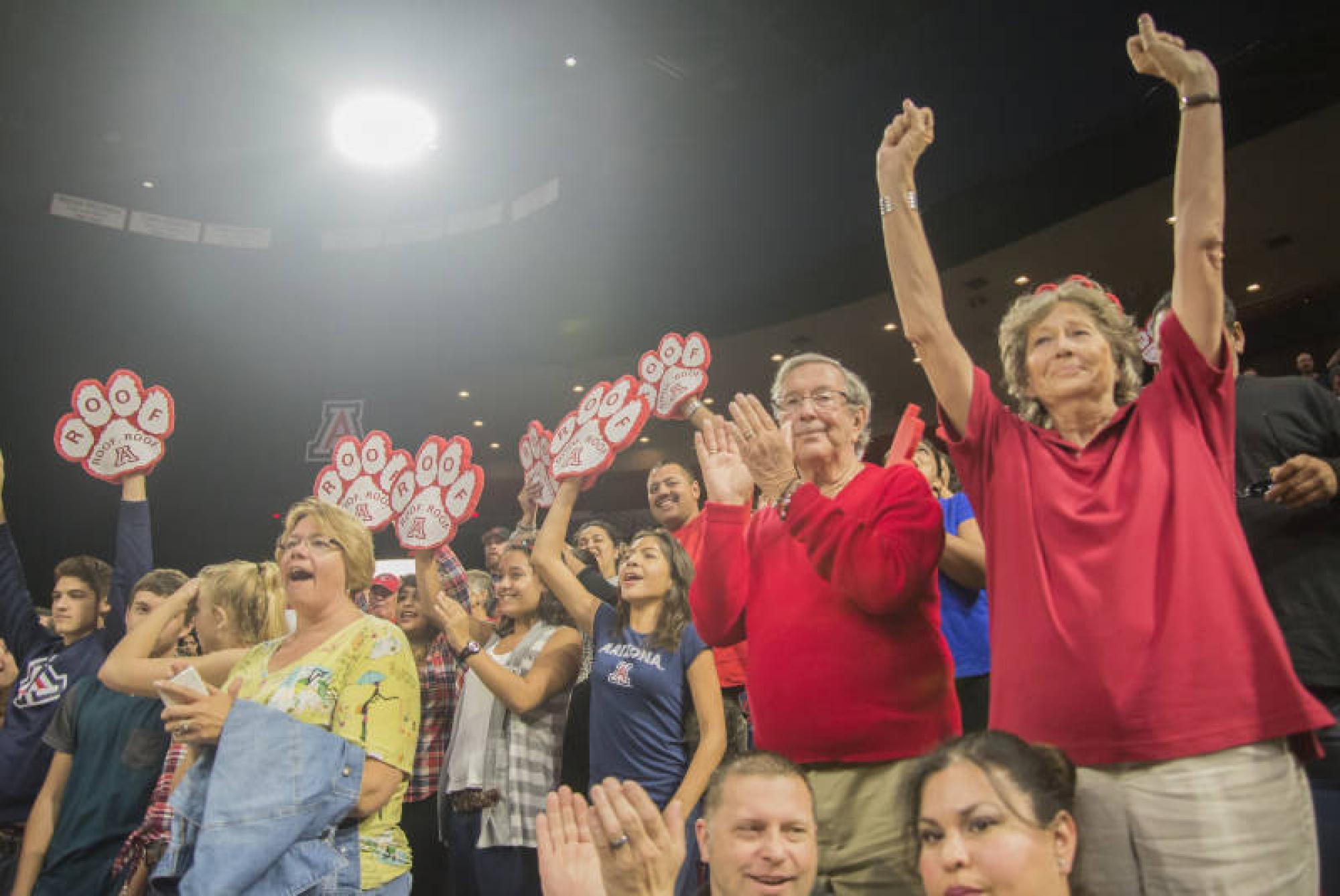 Fans cheer on their Arizona Wildcats.