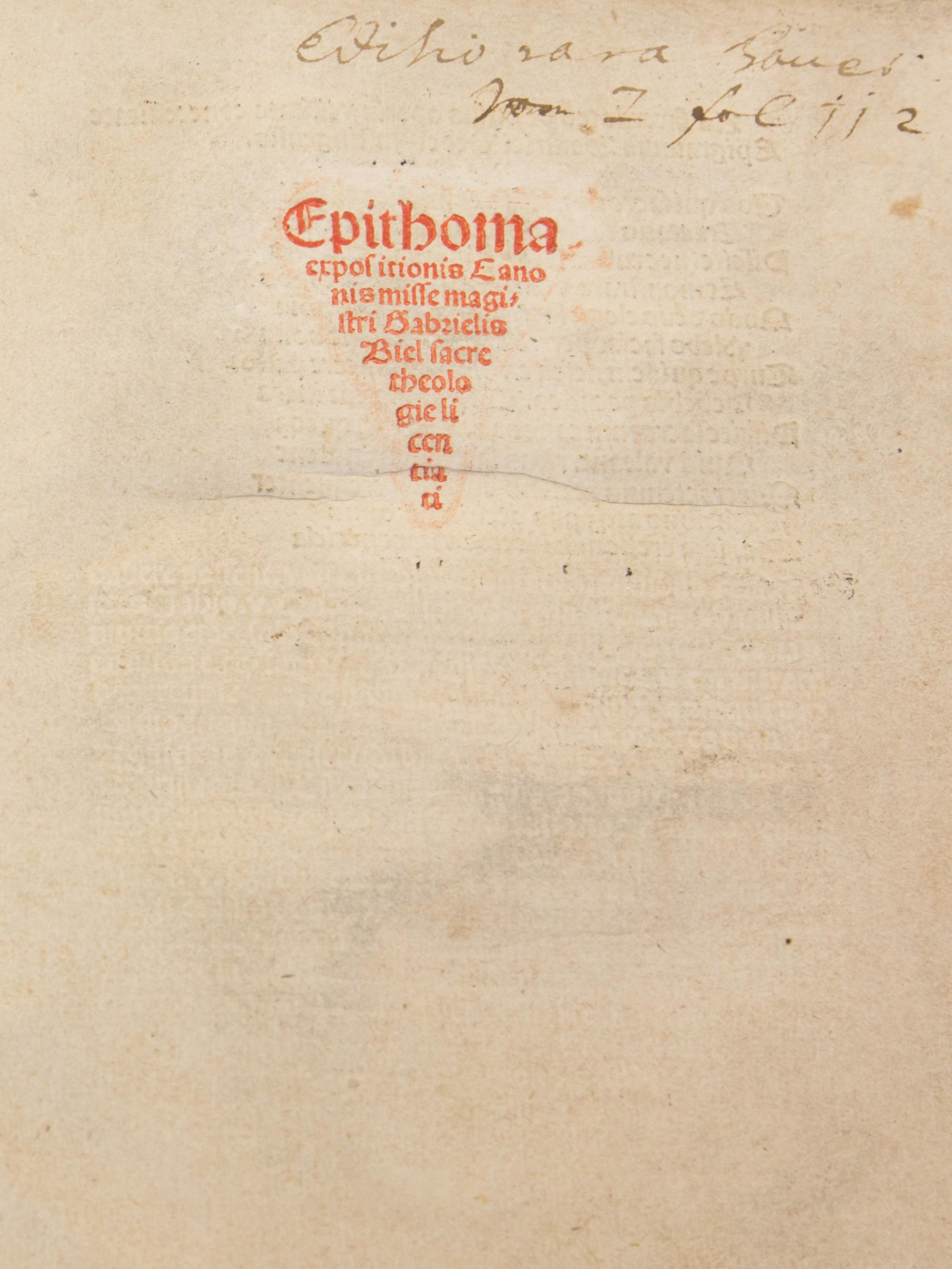 "Gabriel Biel's ""Epithoma expositionis Canonis Misse"" was published in 1499. Biel was a German philosopher and theologian, bridging the old world of the late Middle Ages and the new views of the Reformation, said Jane Prescott-Smith, special assistant to t"