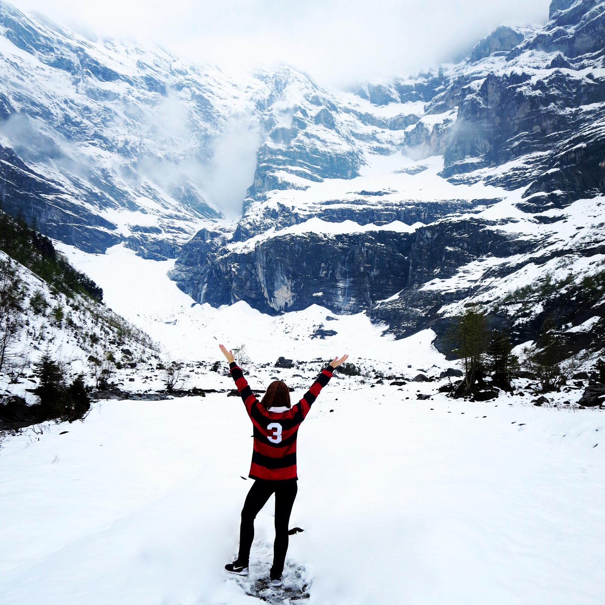 Allison Arendt, a student in the School of Dance, shows UA colors during a visit to Switzerland.