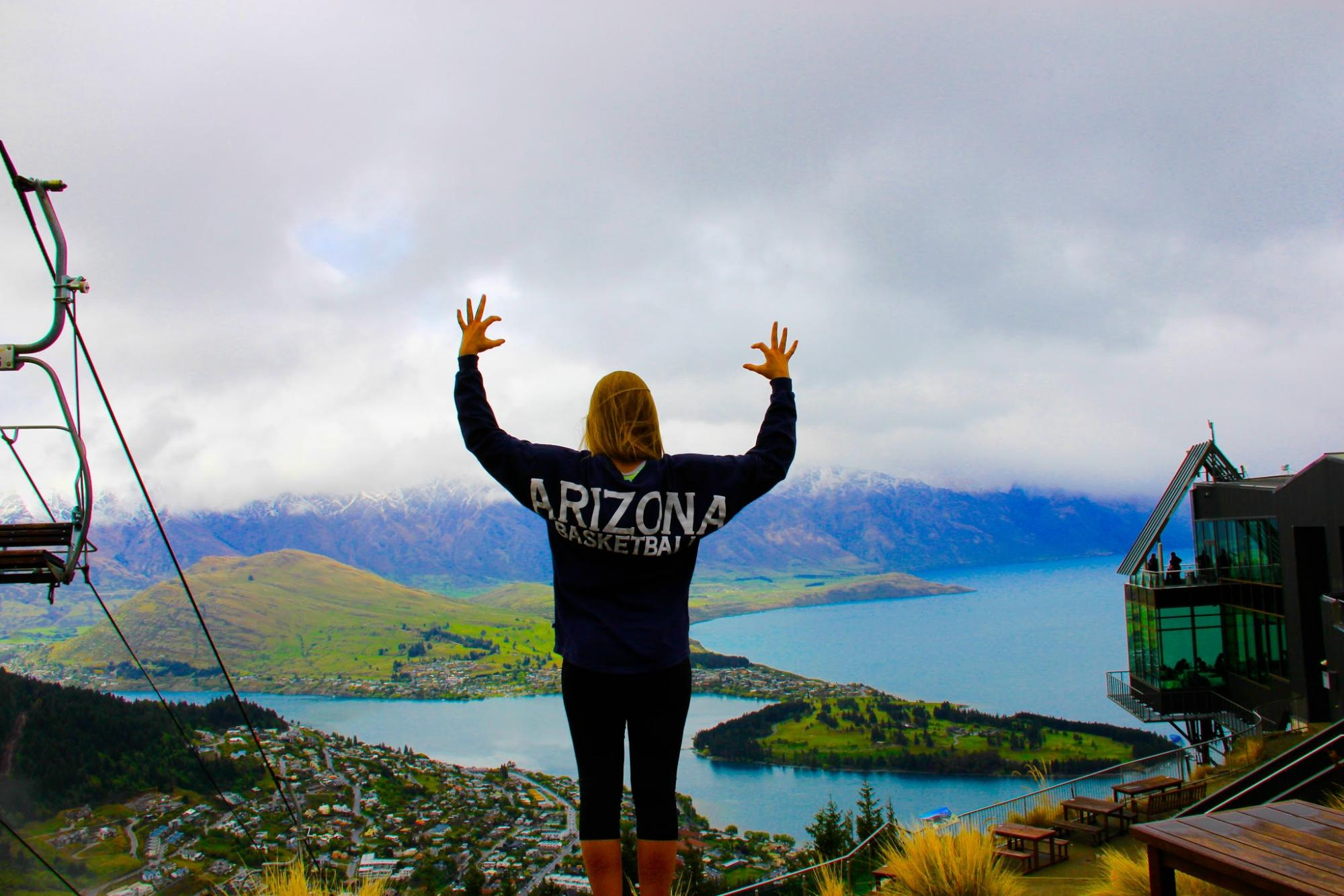 Lexy Davis, a 2016 graduate with a degree in care, health and society, has the Wildcat spirit atop the Skyline Gondola in New Zealand. The UA offers programs in New Zealand that allow students to explore engineering, architecture, ecotourism and other top
