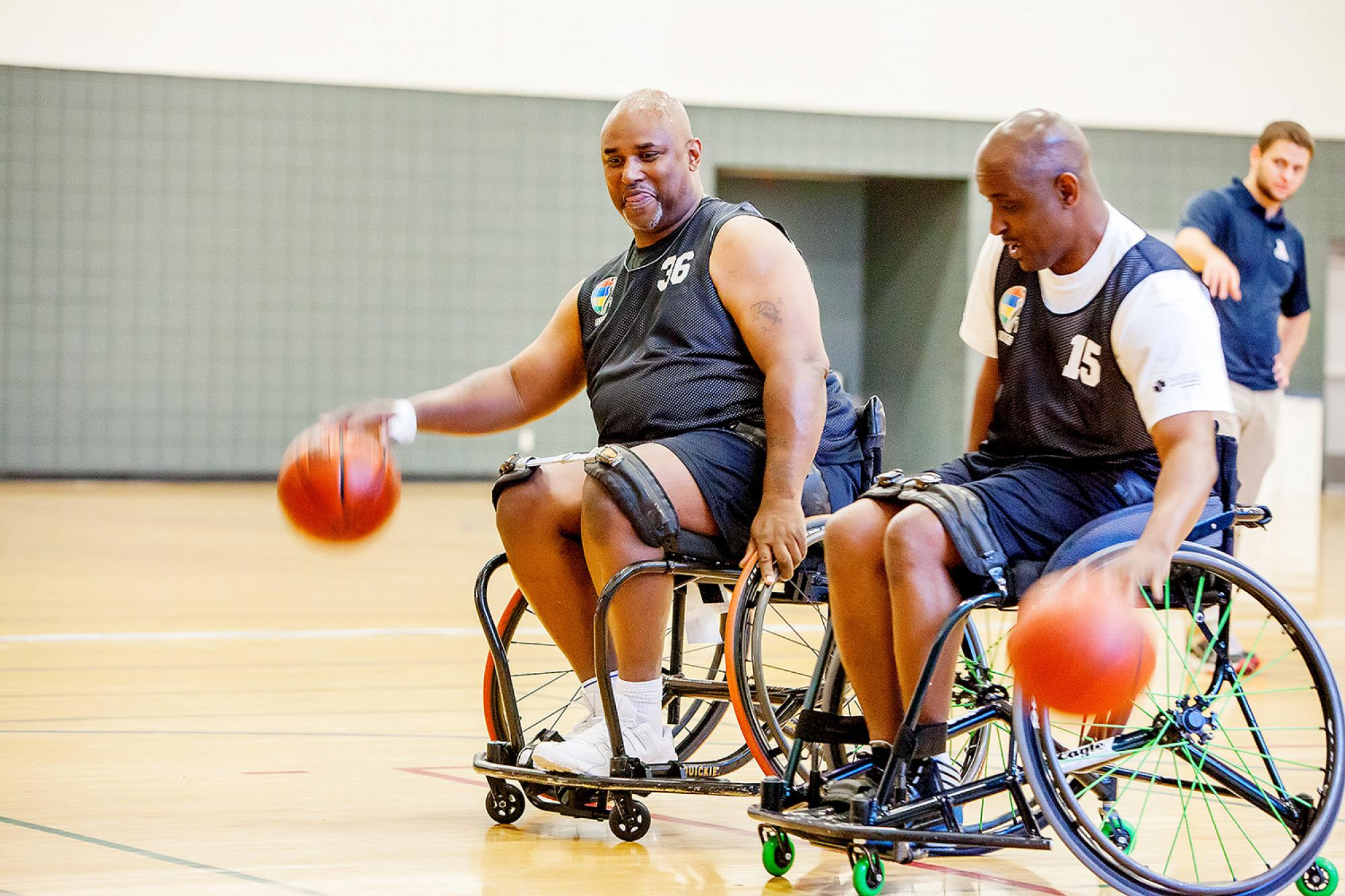 Friends Derrick McMillon and Robert Jones are first-time participants at the UA. Both had just participated in a National Wheelchair Basketball Association championship game in Kentucky.