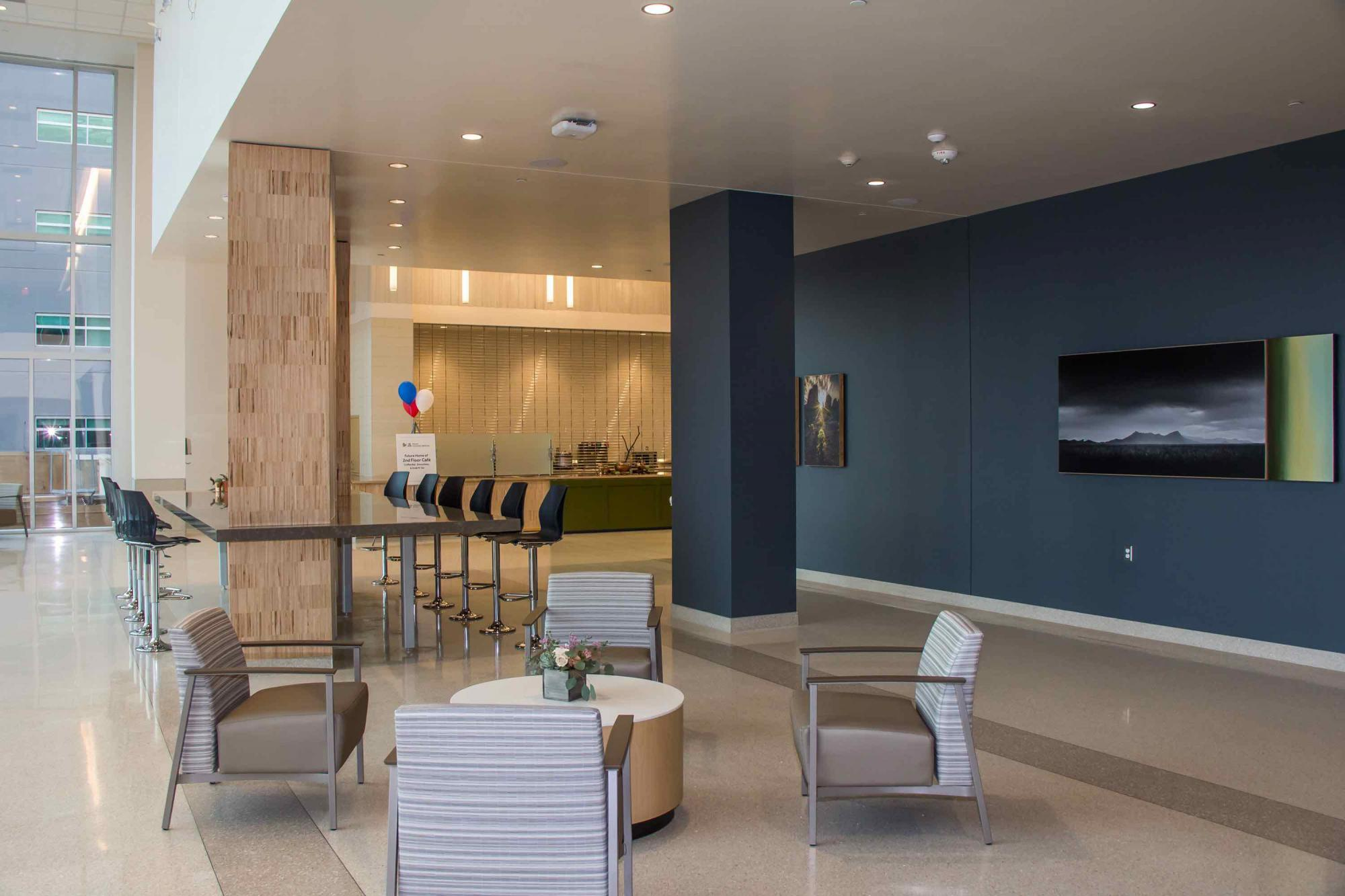 """The hospital's main entrance and lobby shifts to The Pavilion in """"Tower 1."""""""