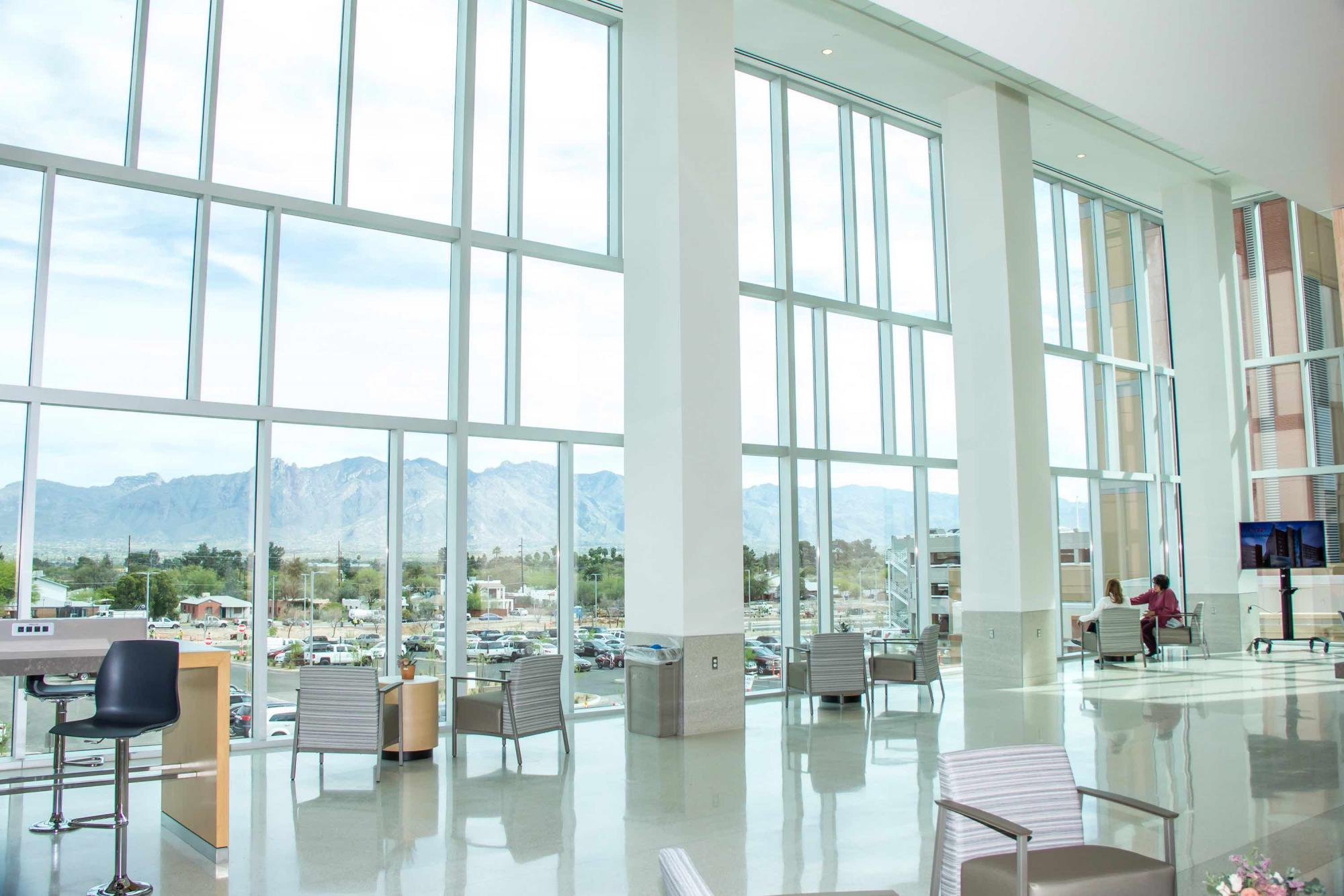 The view of the Santa Catalina Mountains from the second-floor cafe.