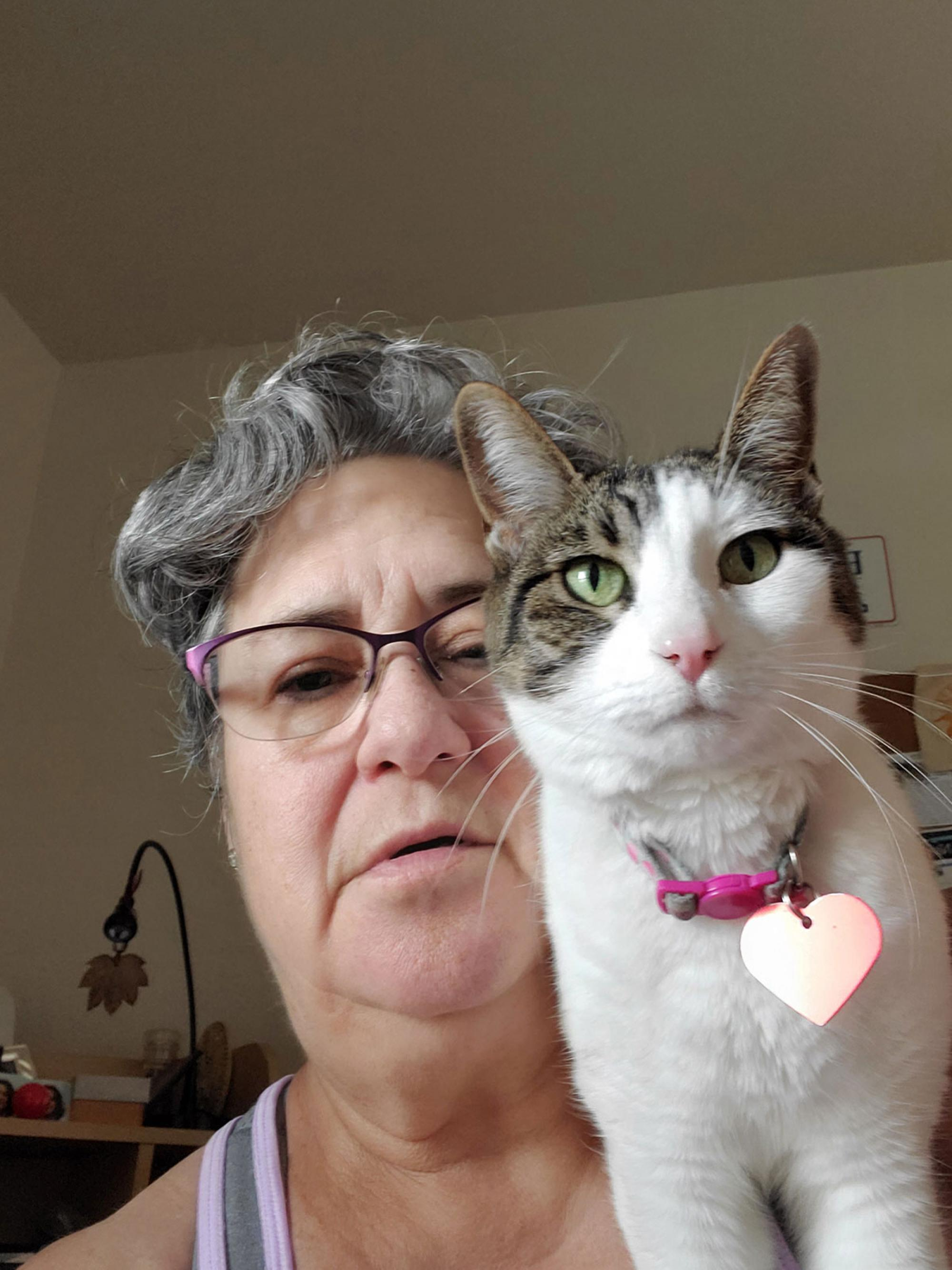 This is Logan and she loves to sit on my shoulder and drool while I am working from home. Here we are in my home office. She's pretty happy to have me around more. – Connie Bell, senior lab coordinator, Department of Nutritional Sciences