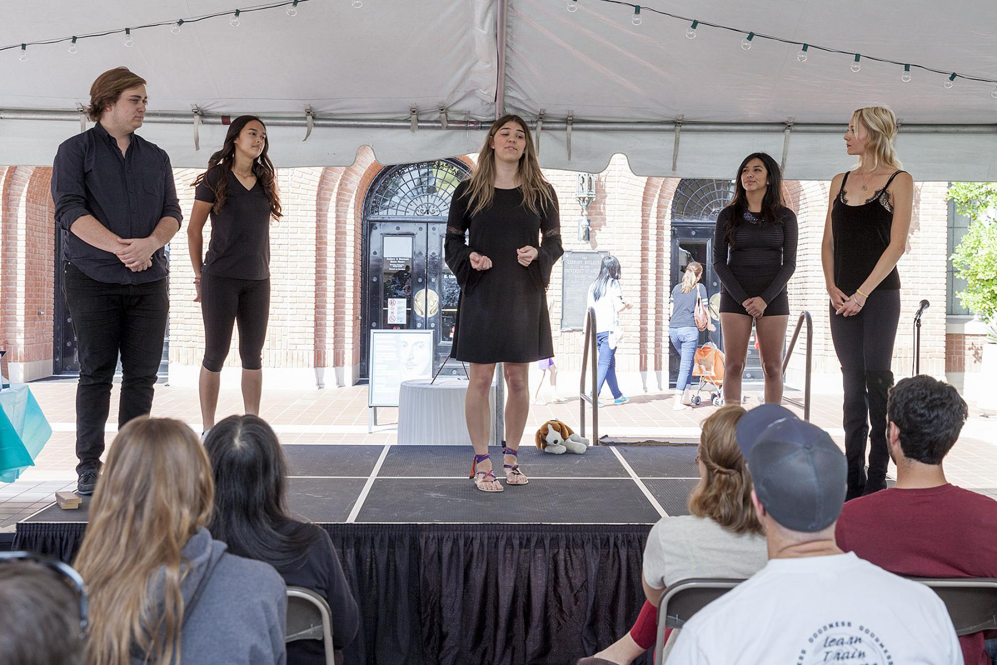 """Members of the Arizona Repertory Theatre perform famous passages from Shakespeare's work. The theatre will perform """"The Tempest"""" and """"The Comedy of Errors"""" as part of First Folio events through March."""
