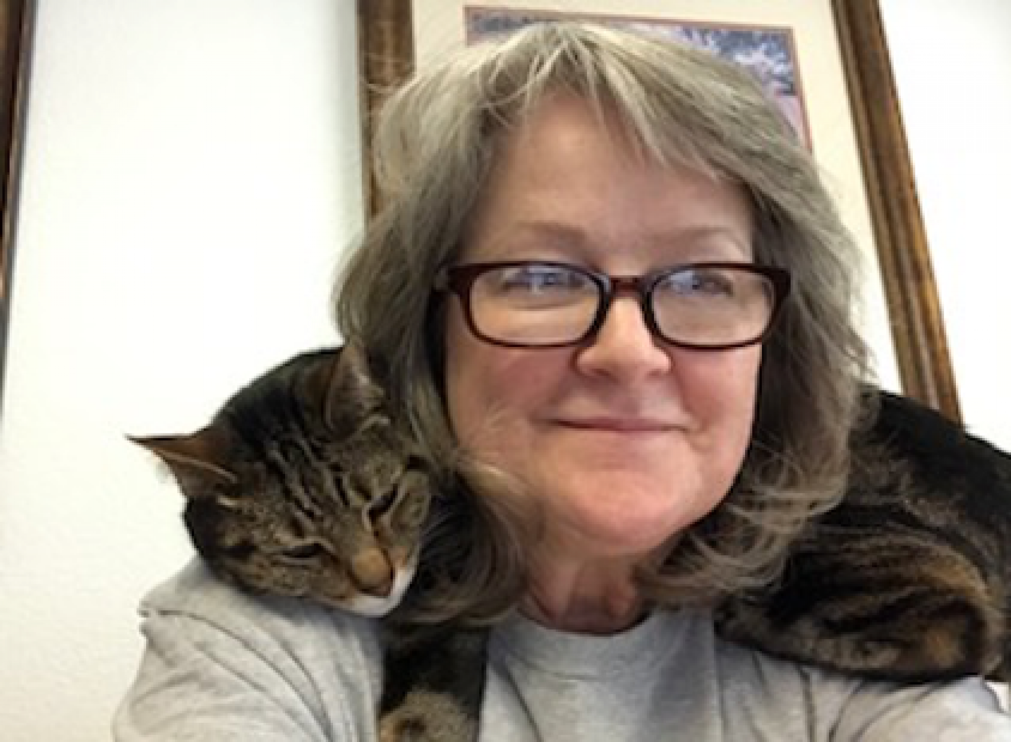 This is my kitty Gilligan. He has been a great helper! I thought he was happy that I was working from home until I saw this cartoon!  – Karrie Hurley, administrative assistant, Division of Human Resources