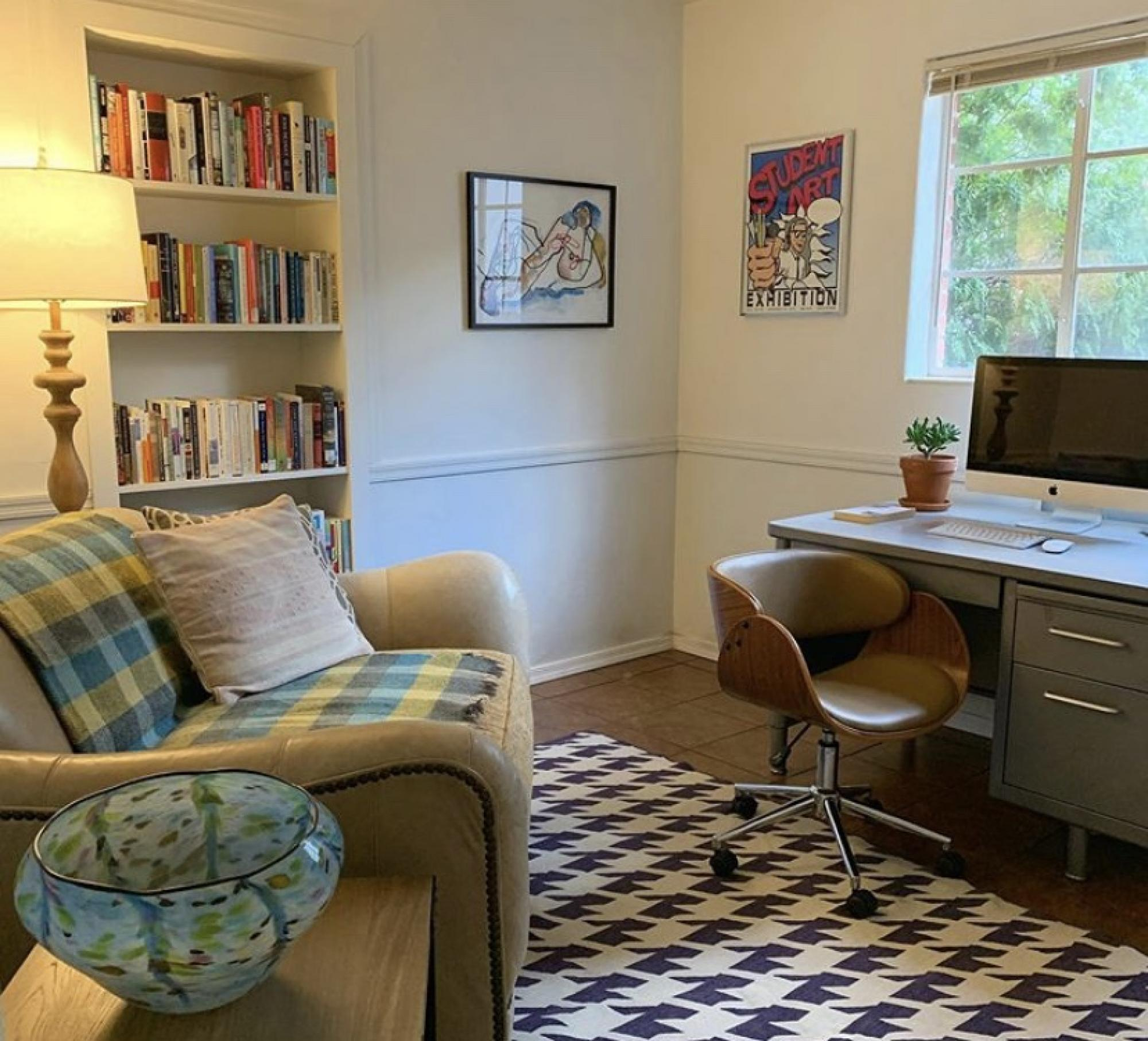 I much prefer my home office to my office-office – which is a cube. When I get tired of working on my 2010 iMac , I take my 2018  MacBook Air, provided to me by work, out to the kitchen table. – Emily Litvack, science writer in Research, Innovation and Im