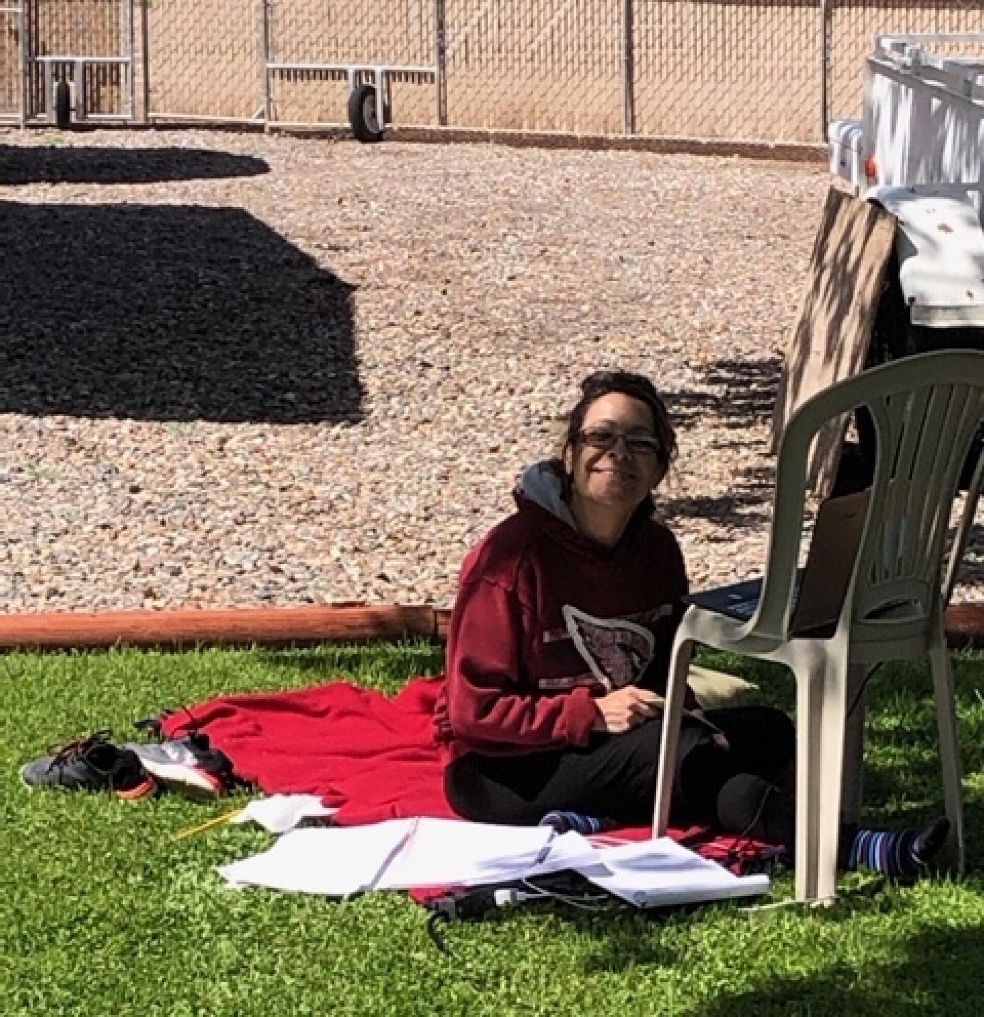 I was getting my much-needed Vitamin D for the day. It's amazing how much you get accomplished when you love where you work. Birds singing was a nice touch. Bird pooping on my papers I could have done without. – Elba C. Lorenz, program coordinator in the