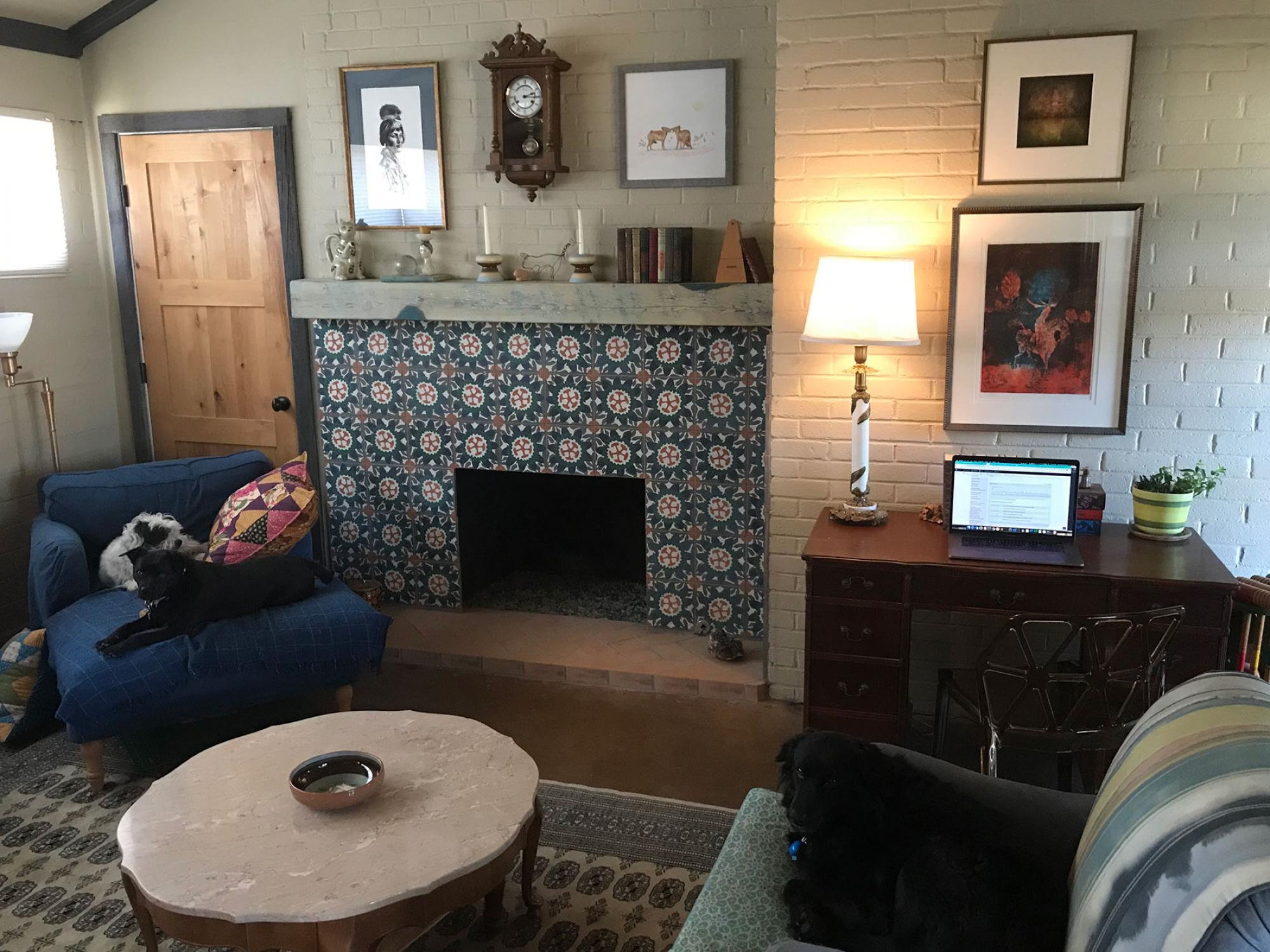 All three of my dogs – Poppy, Huckleberry and Ernie – managed to be hanging out calmly long enough for me to take this picture of one of my two home workspaces. When my web development work requires an external monitor, I move my operation to the dining t