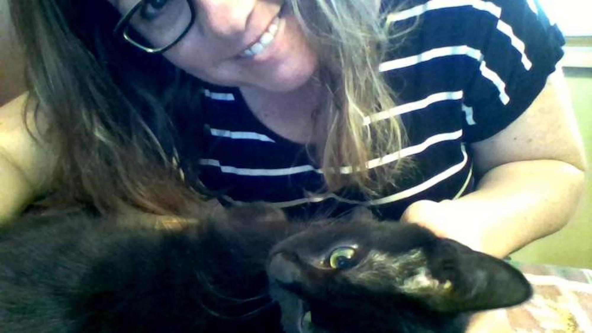 Here's me and my cat, Snuggles, while he was lying on my keyboard. – Heather M. Moore, coordinator for career engagement in the College of Engineering