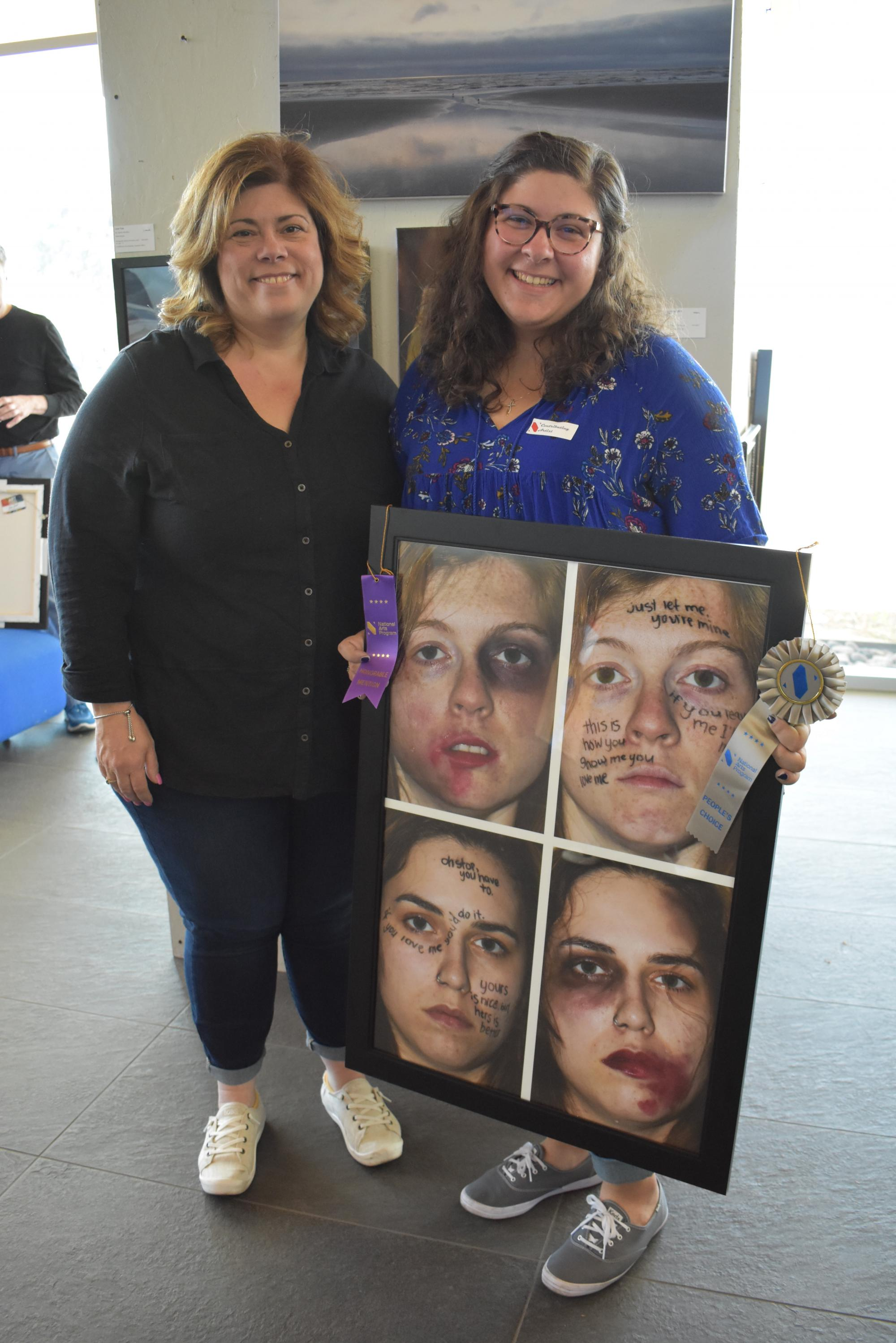 "Hailey Koellisch, right, family of Valerie Koellisch, left, an accountant in the Department of Family and Community Medicine. Hailey Koellisch's photo collage, ""Bruises Heal, Words Scar the Soul,"" won a People's Choice Award."
