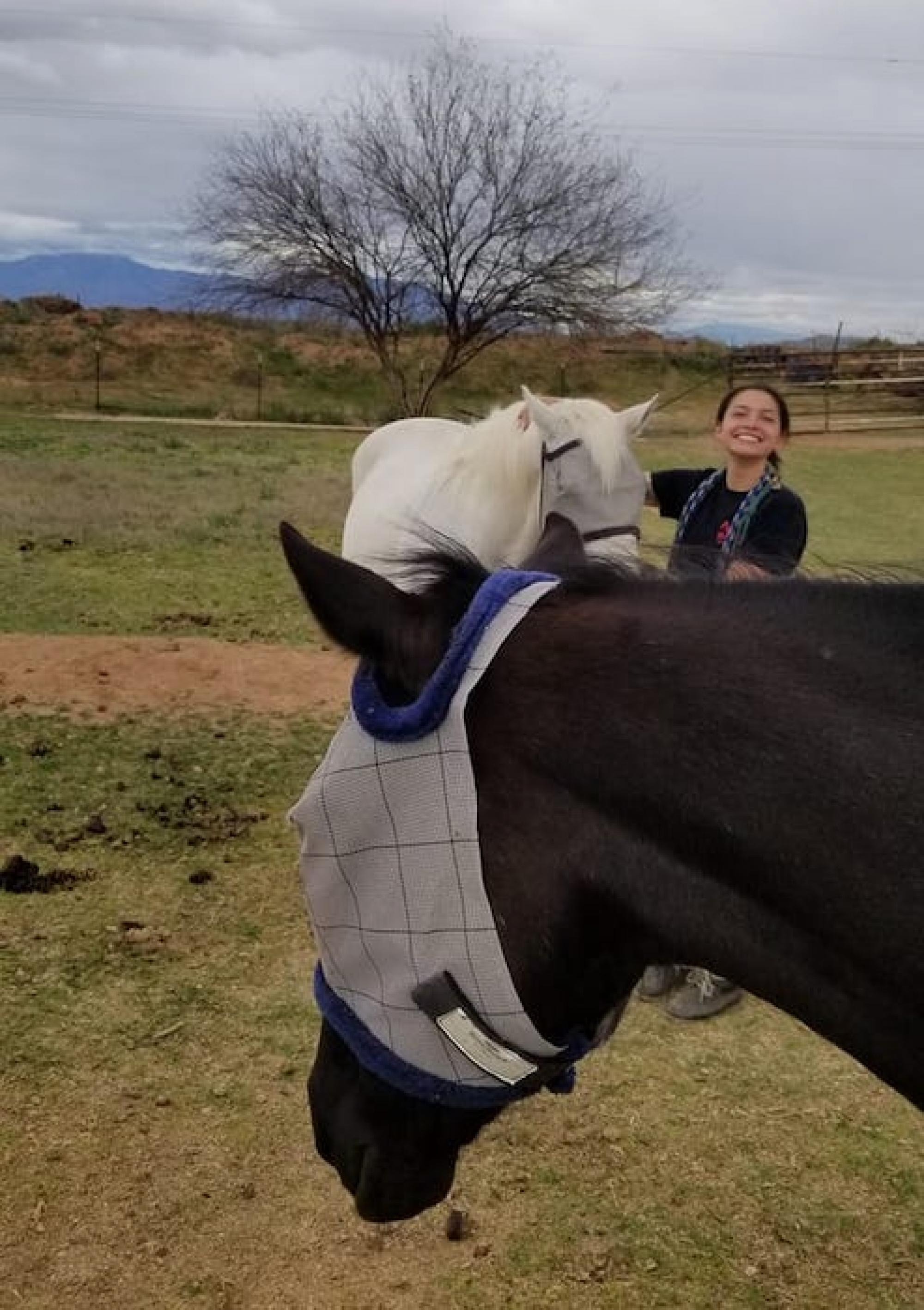 """Early """"exploratory work"""" for research regarding horse-person and human-person overt and internal conversation with Caitlyn Shoulder, graduate student in American Indian Studies. Lil', the brown horse, whose registered name is Miss Lilly T, made sure her v"""