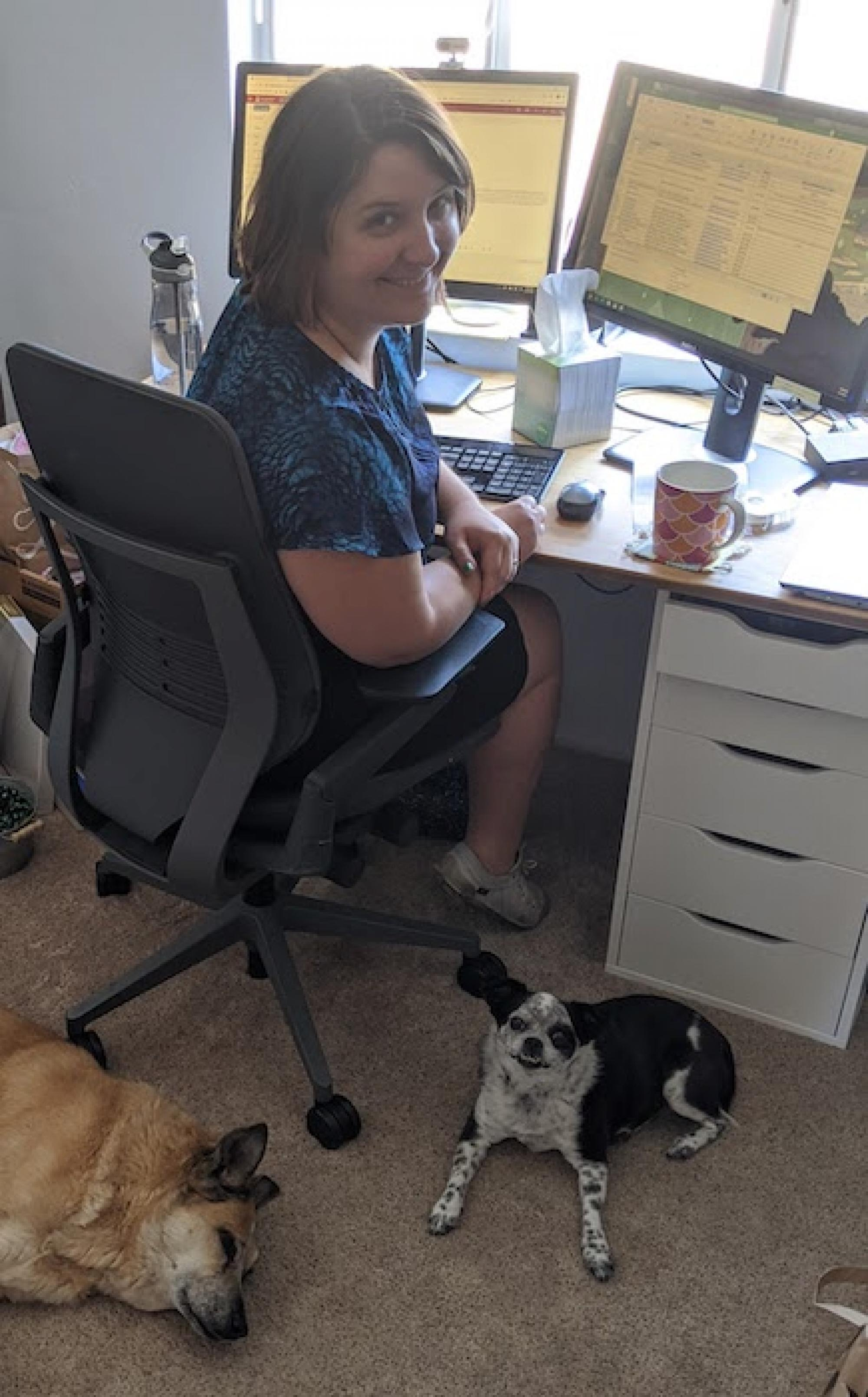 I've attached a photo of a thing my dogs have begun to do. Indy  and Tamale  like to lie down directly behind my chair so I can't get up during the workday without disturbing them. – Suzanne Williams, HIPAA privacy analyst, Research, Innovation and Impact