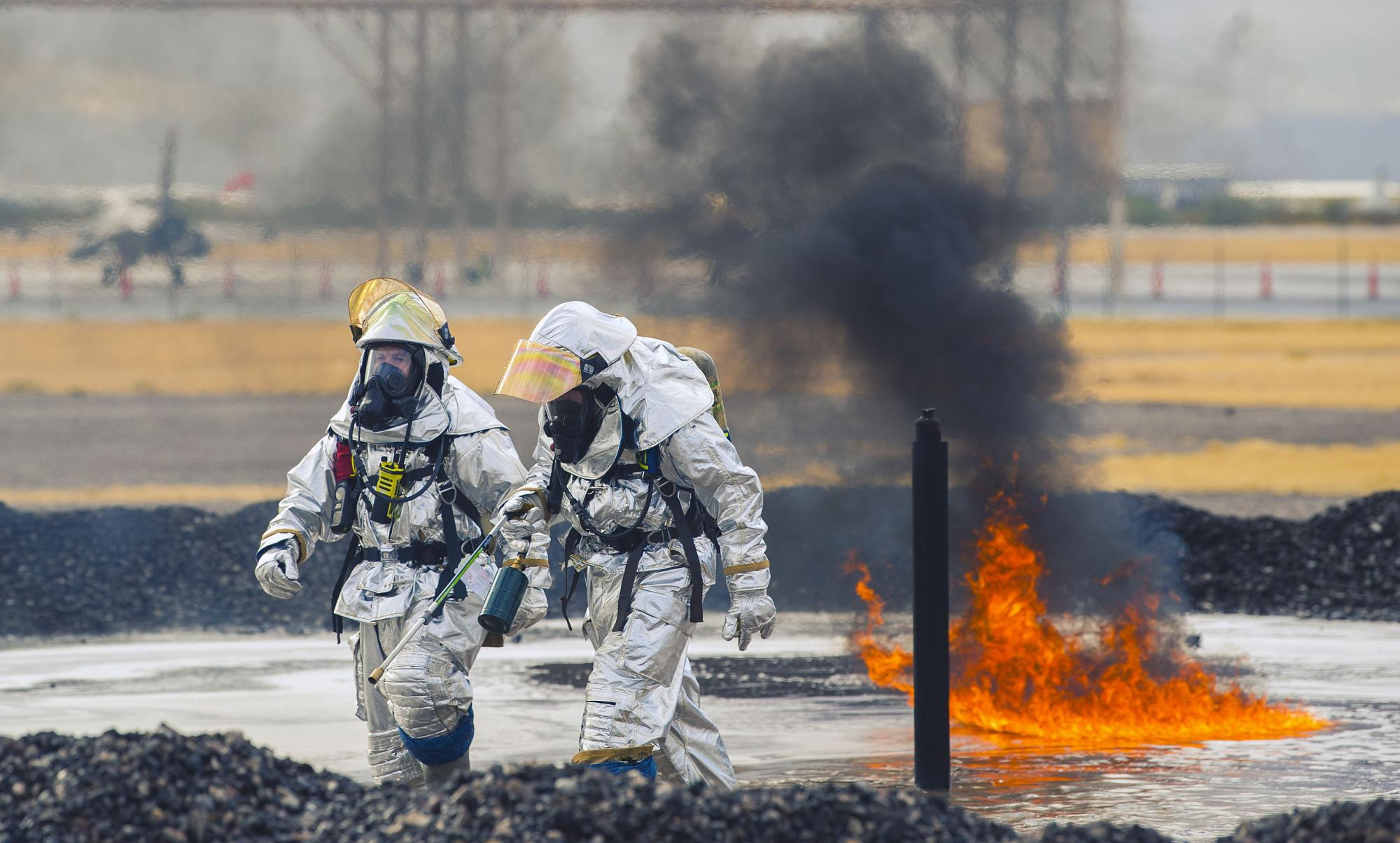 The presence of PFAS in firefighting chemicals means they often are found on military bases and in adjacent groundwater. Military firefighters, such as these at Davis-Monthan Air Force Base, undergo aircraft rescue firefighting training to hone their skil