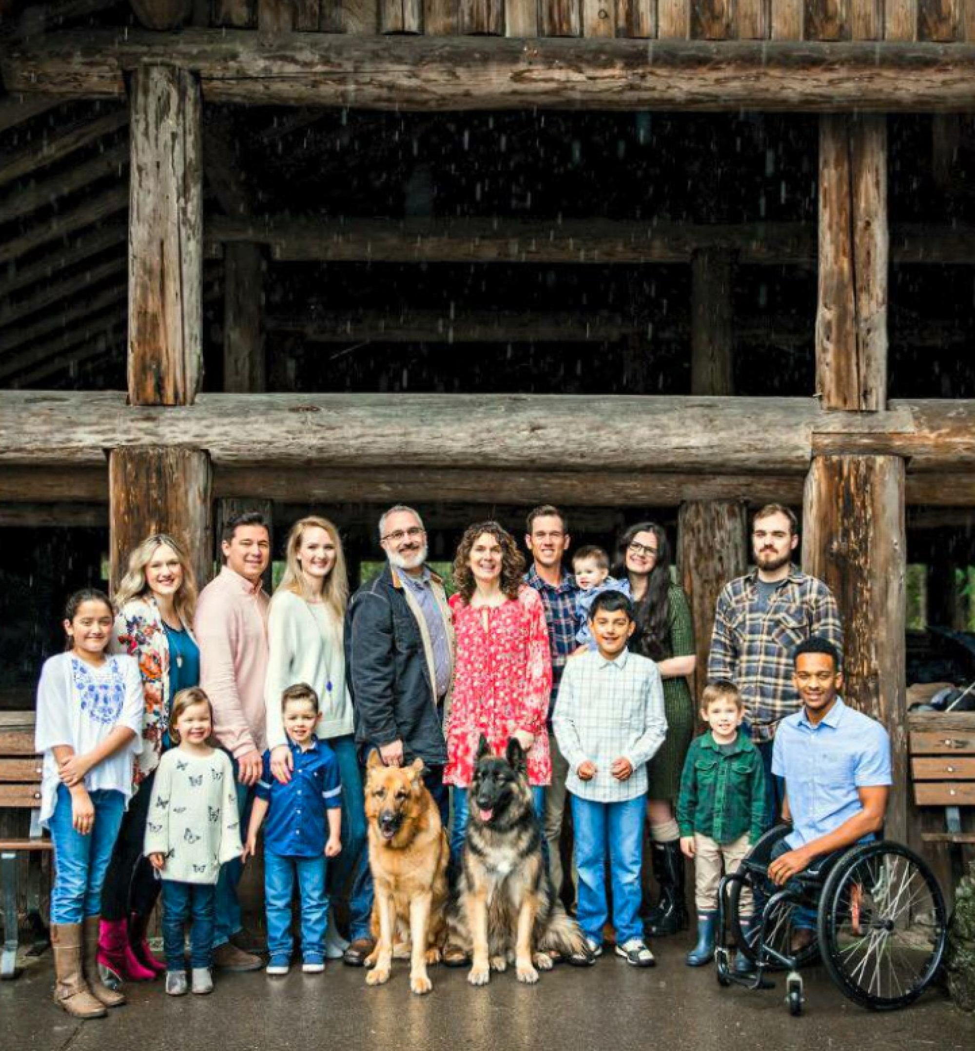 Brewer with his parents, siblings, nieces and nephews.