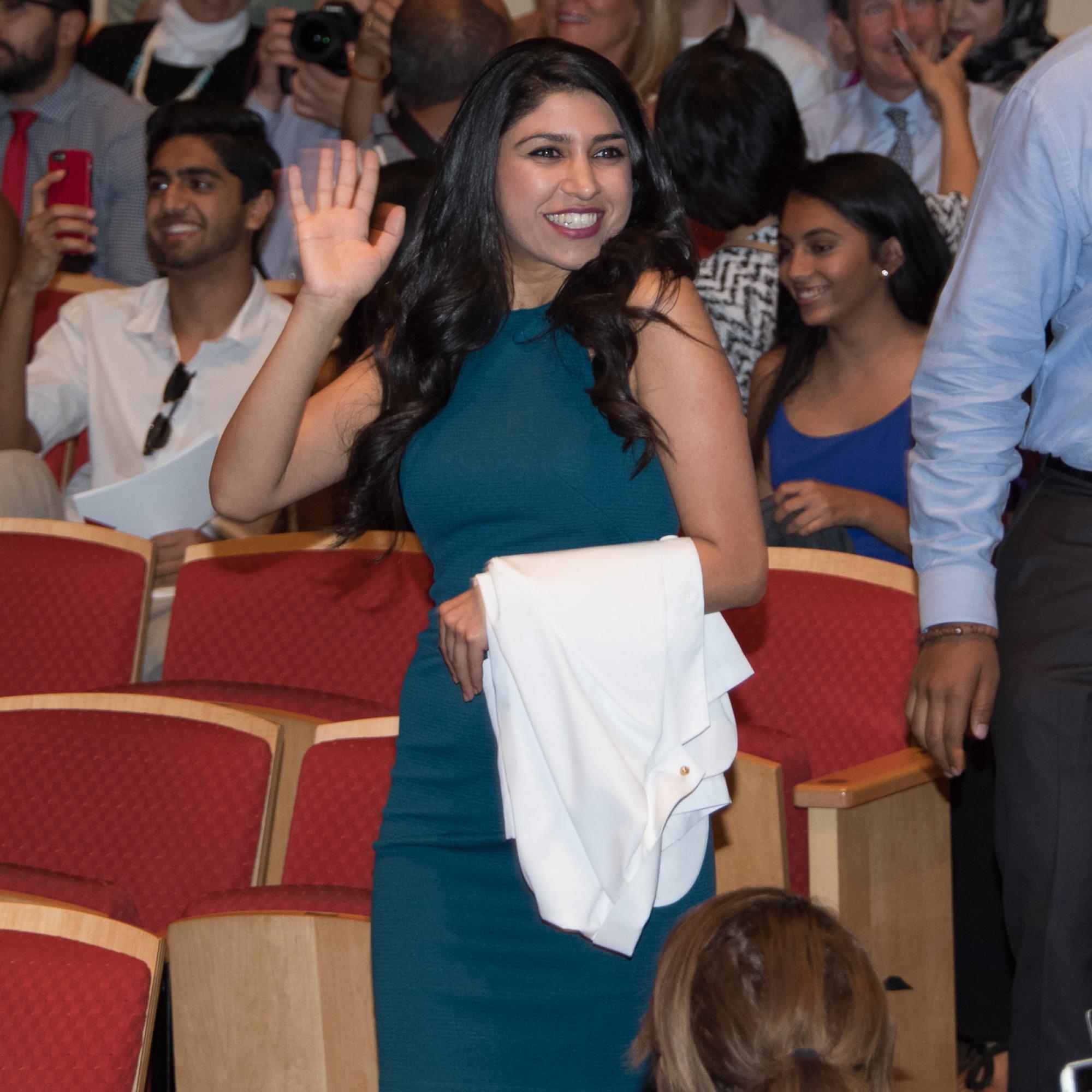 First-year medical student Sarah Javaherifar waves to family.