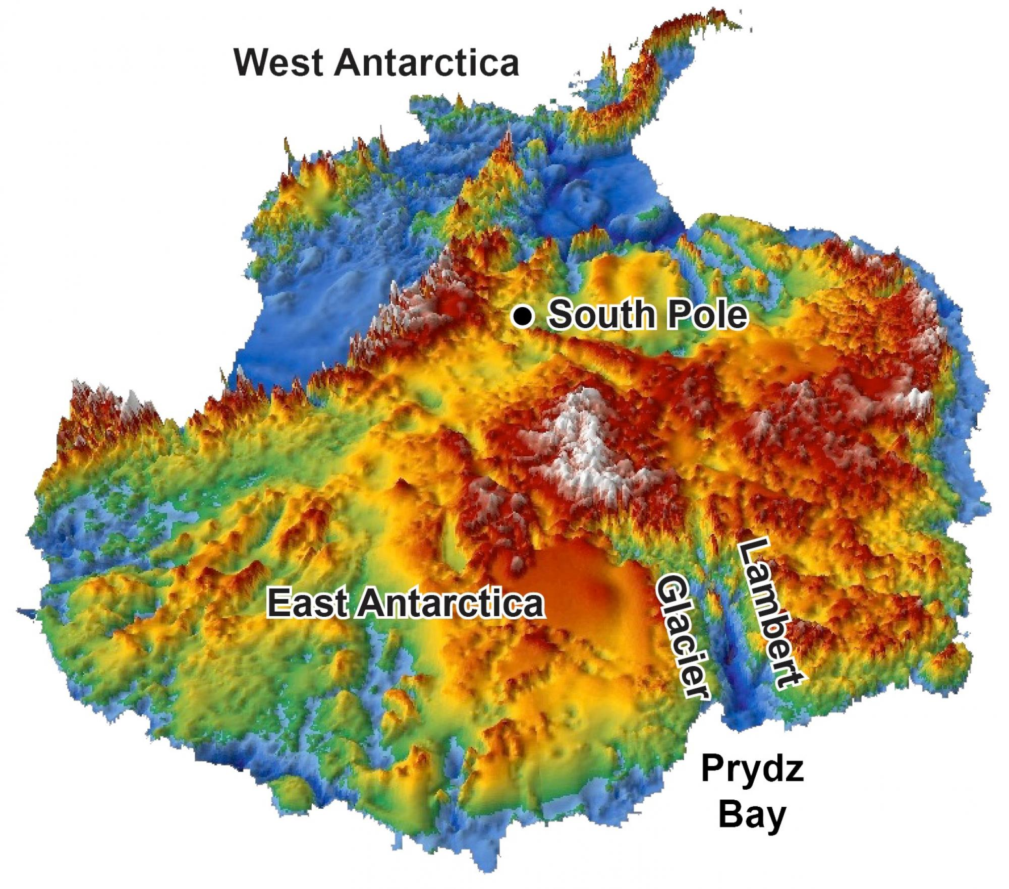 This 3-D reconstruction of the topography hidden under Antarctica's two-mile-thick coating of ice was made using data from radar surveys. Glaciers started carving Antarctica into the current mountain-and-fjord landscape 34 million years ago, according to