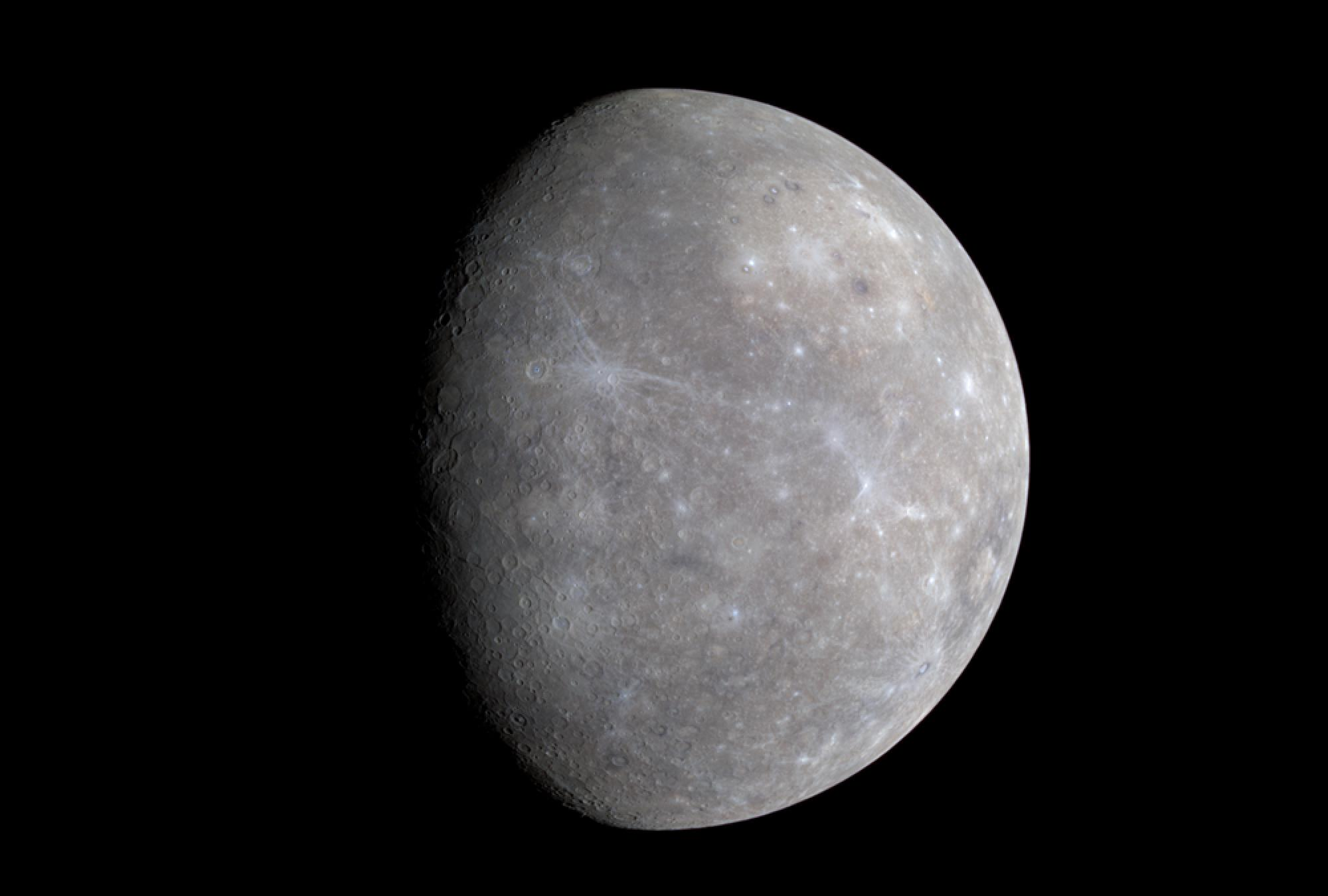 A new view of Mercury obtained during a flyby on Jan. 14, 2008. This mosaic from three different images shows Caloris, the solar system's largest basin - a huge, ancient crater filled in with volcanic material - in the upper right.