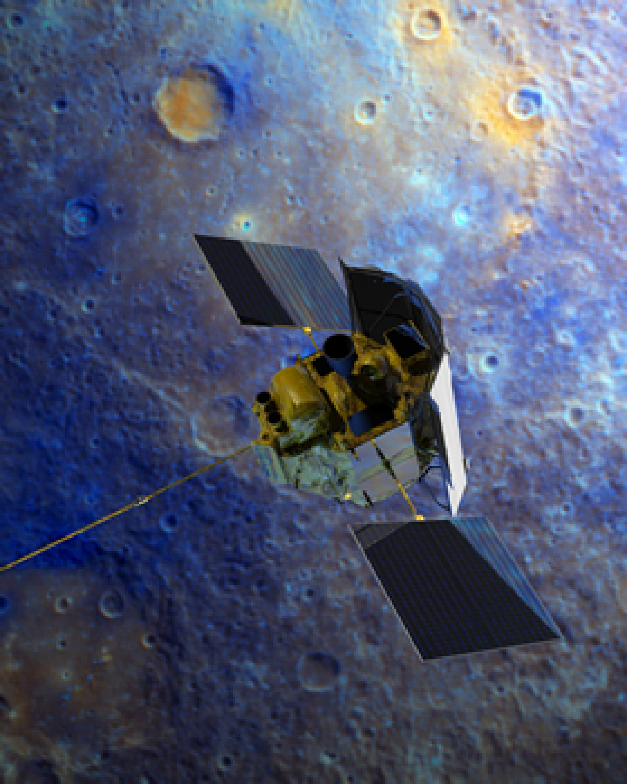 The MESSENGER spacecraft will orbit Mercury in an effort to study the geologic history, the enigmatic magnetic field, the surface composition and other mysteries of the planet. The shield visible on the probe's right side protects its sensitive instrument