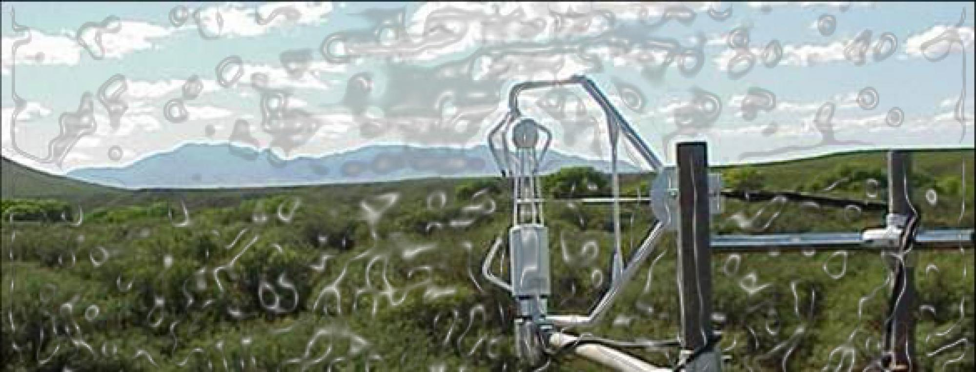 """This modified photo illustrates how flux towers monitor eddies, or pockets of air, with instruments that measure the levels of carbon dioxide and water. """"This allows us to estimate how much carbon the ecosystems are pulling in from the atmosphere versus"""
