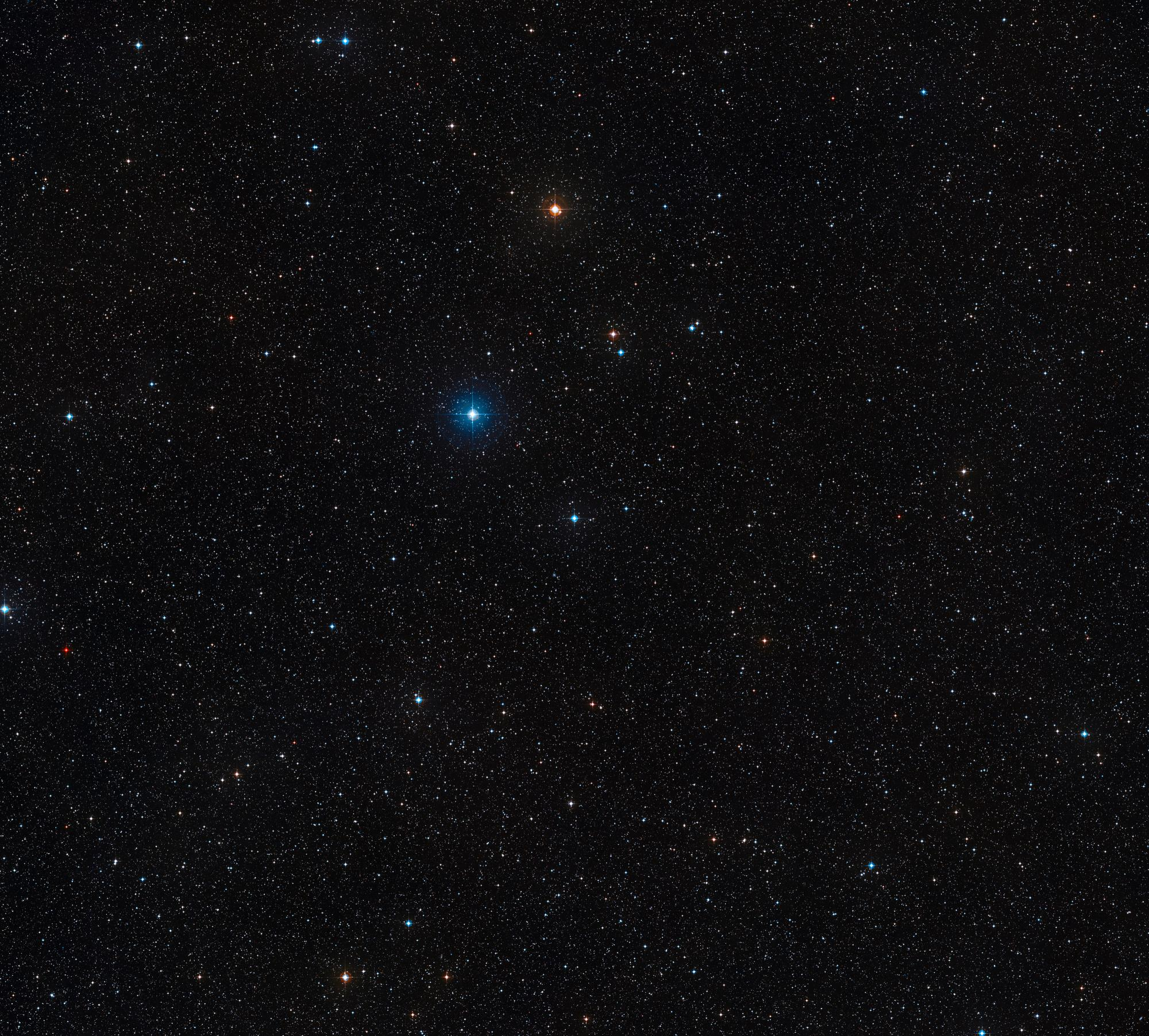 This wide-field image shows a piece of the constellation of Centaurus  centered on the position of the triple star HD 131399. It was created from images from the Digitized Sky Survey 2. HD 131399 itself appears as a star of moderate brightness exactly at