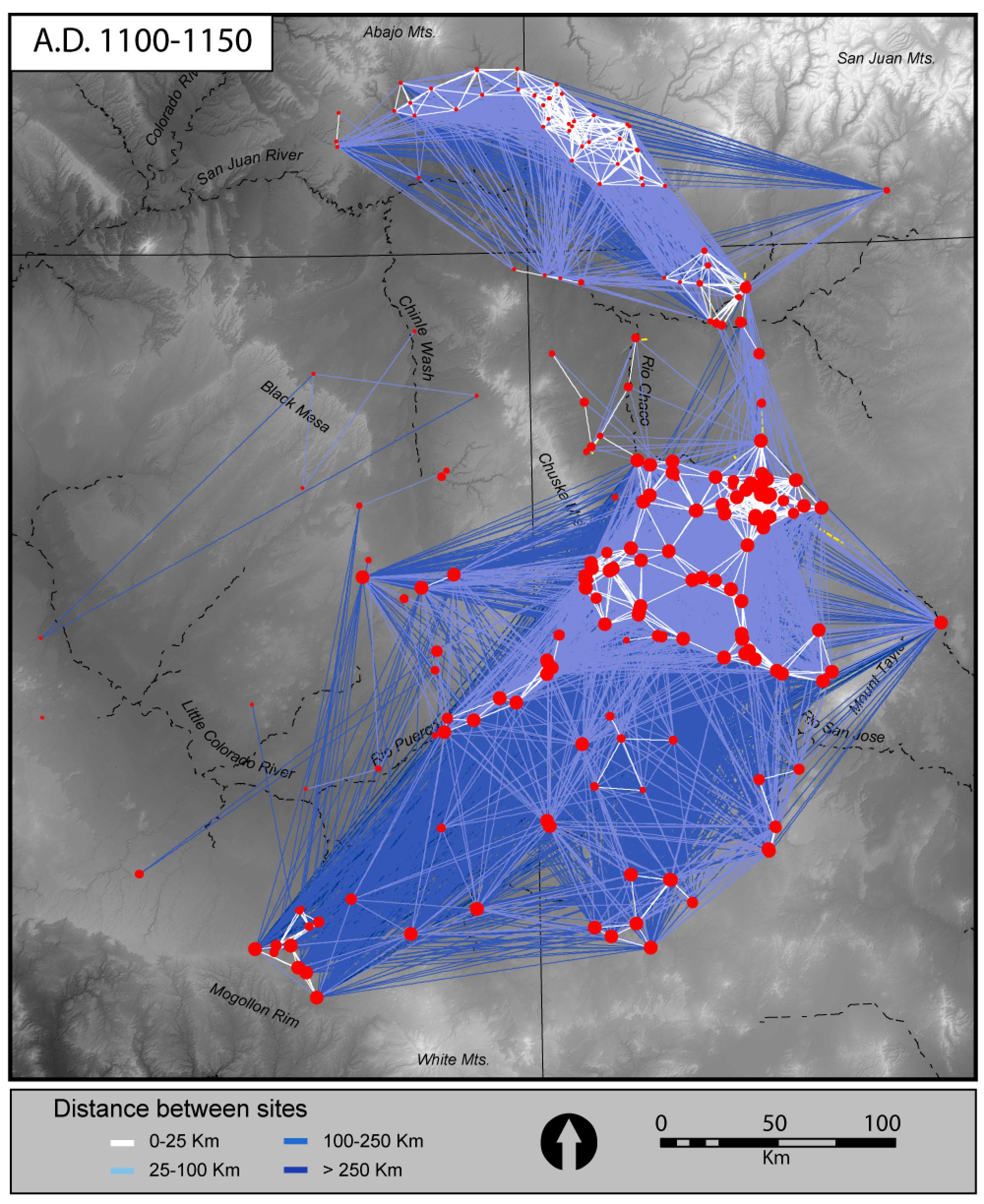 Network plot of Chaco World, A.D. 1100-1150, linking settlements and public architecture in the northern Southwest affiliated with Chaco Canyon