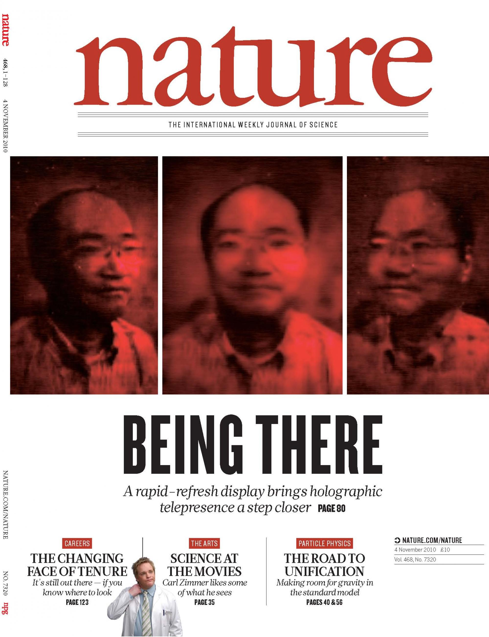 The journal Nature featuring the UA holographic presence report on the cover. Parallax, or the ability to view the image from different perspectives, is one of the hallmarks of the new technology.